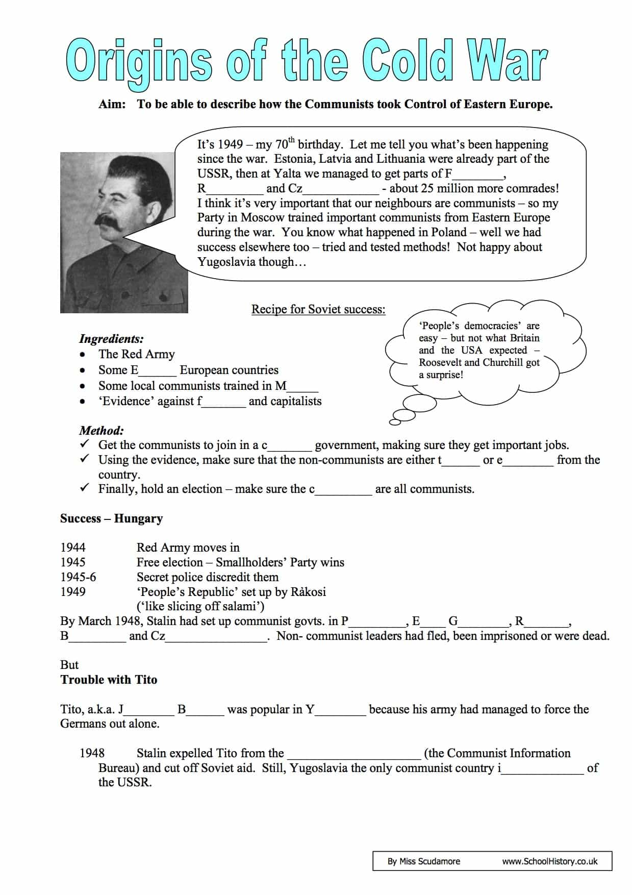 The Cold War Worksheet