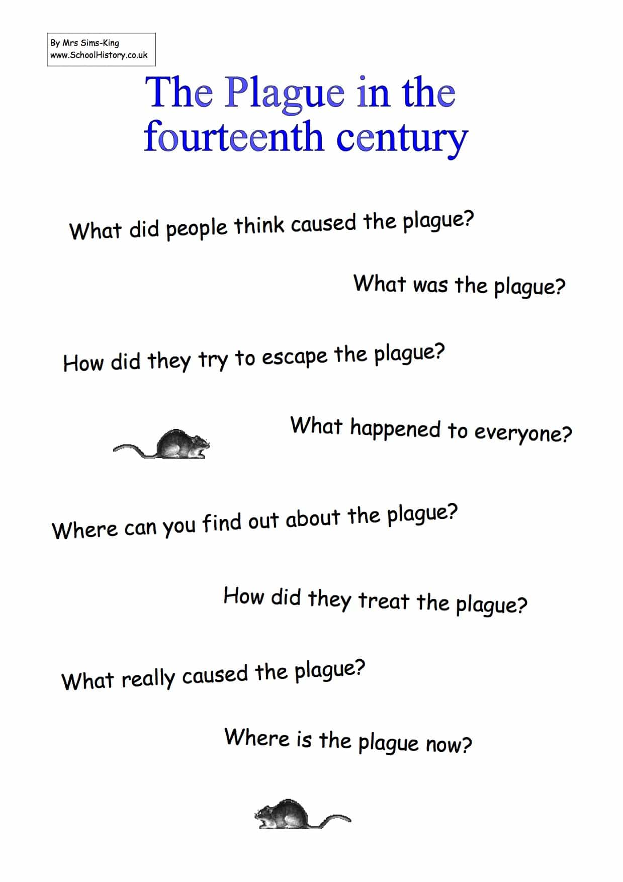 The Plague In The 14th Century Study Worksheets