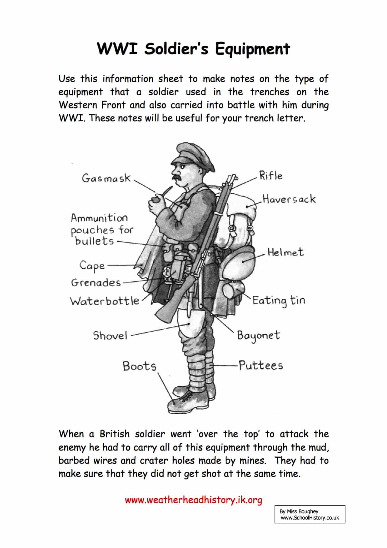 A Ww1 Sol R S Equipment Facts Amp Information Worksheet