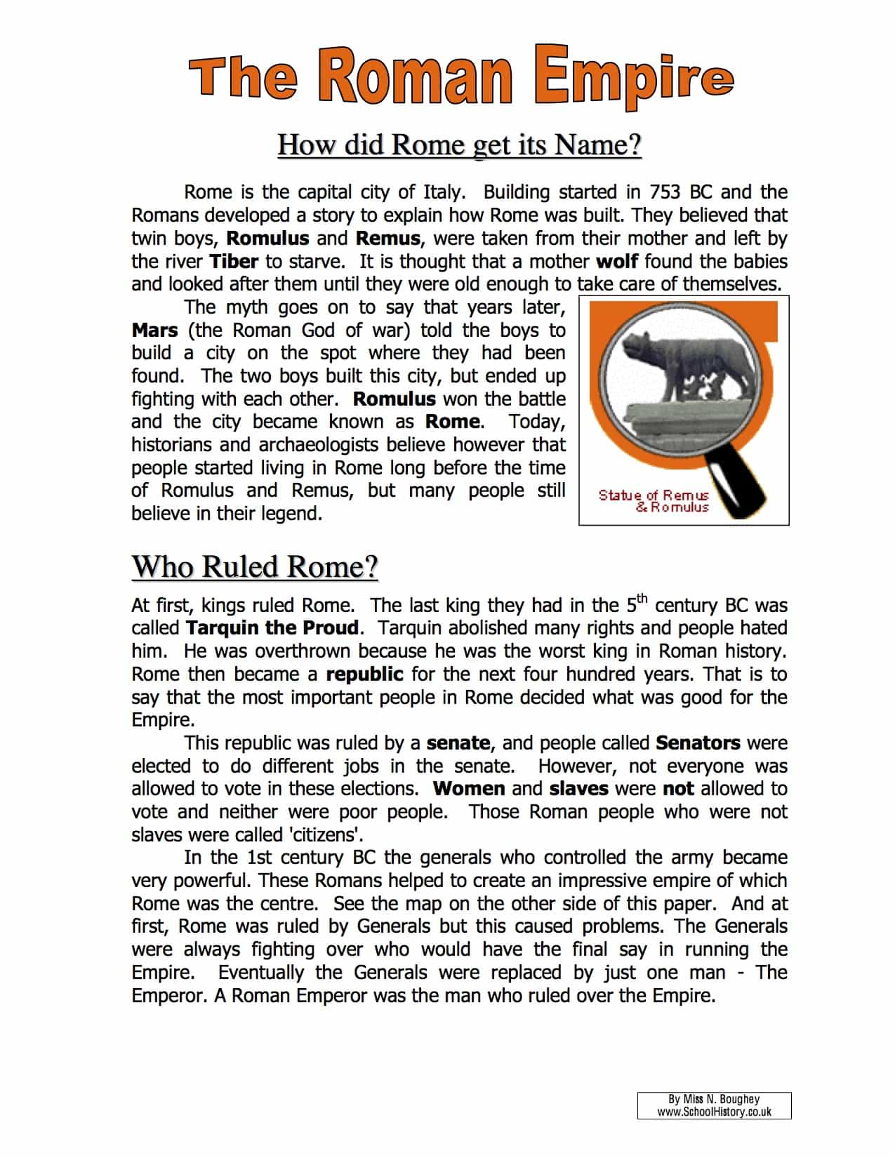 Roman Worksheet