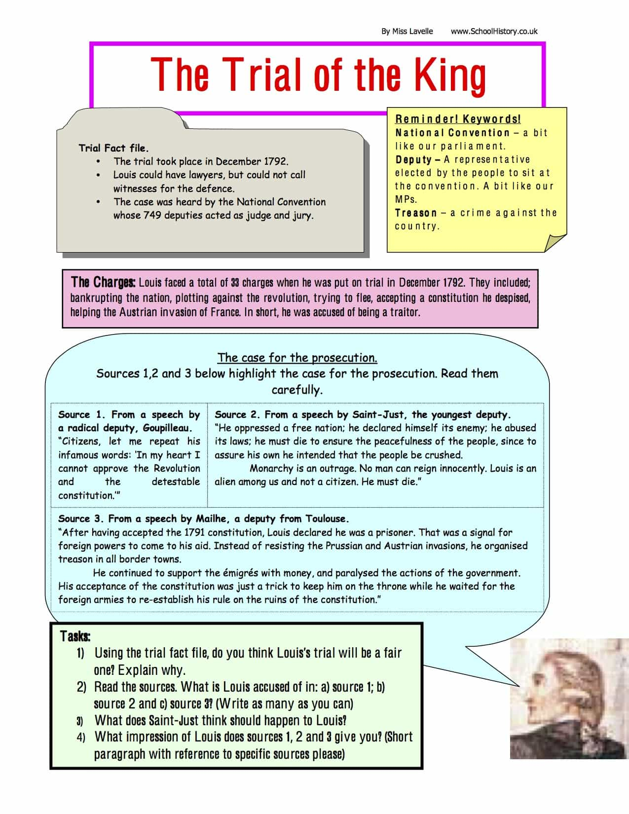The Trial Of King Louis Facts Worksheet