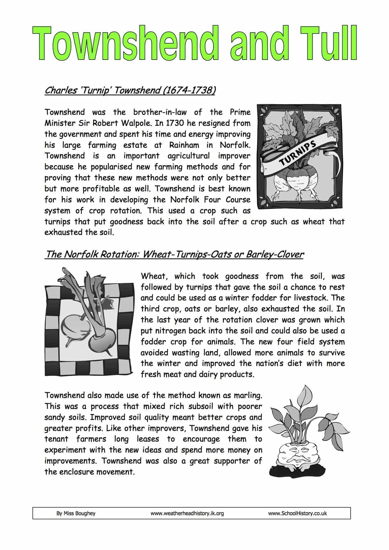 Charles Townshend And Jethro Tull English Farming Worksheet