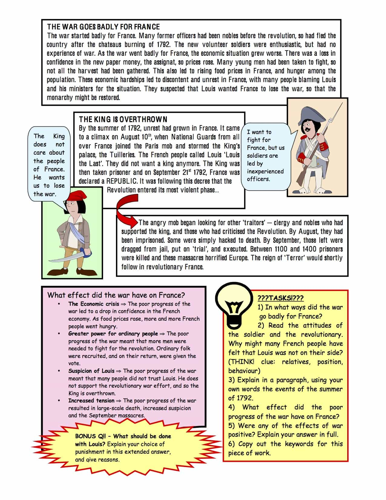 War And The Republic Facts Worksheet
