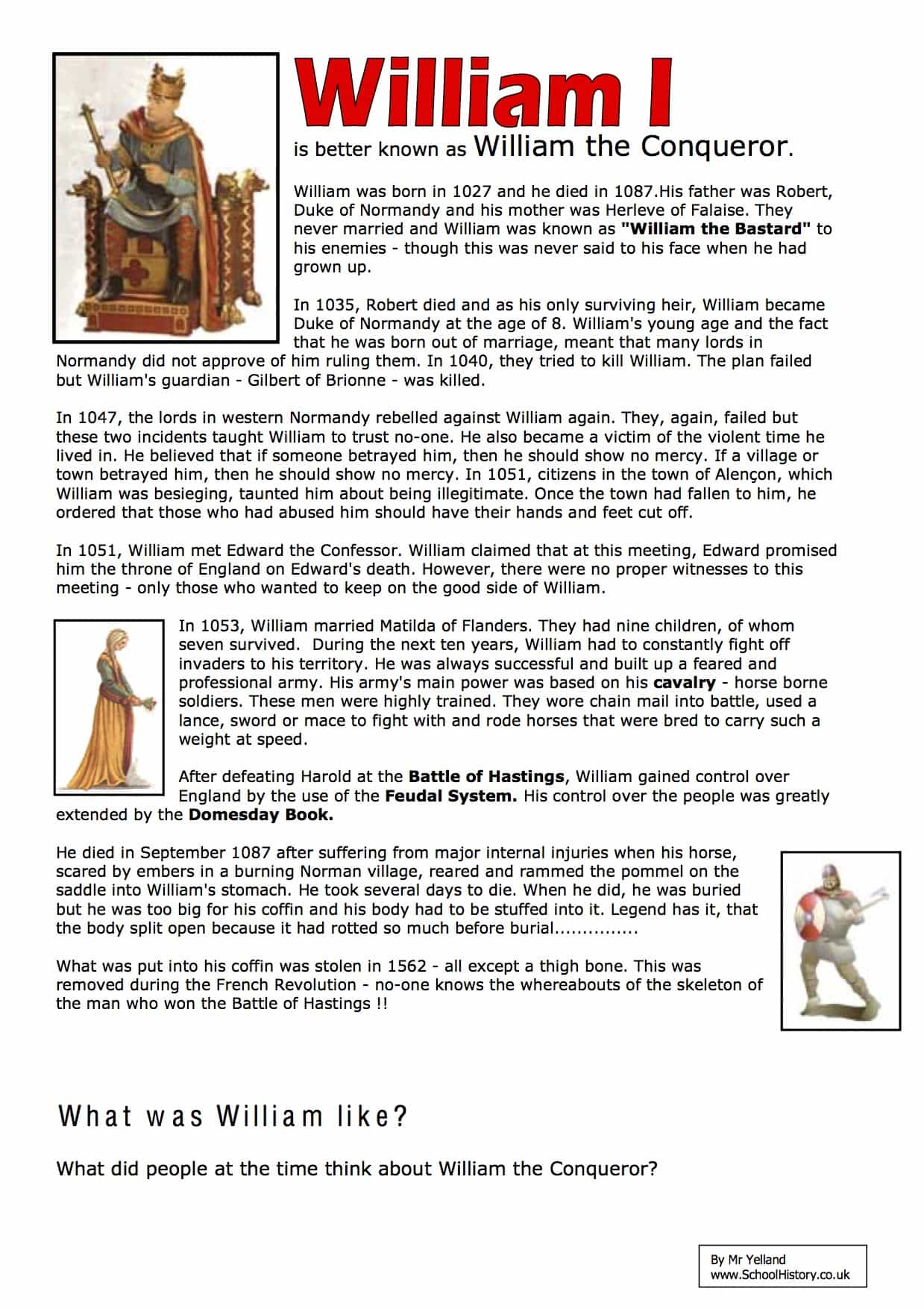 William I William The Conquerer Facts Worksheet