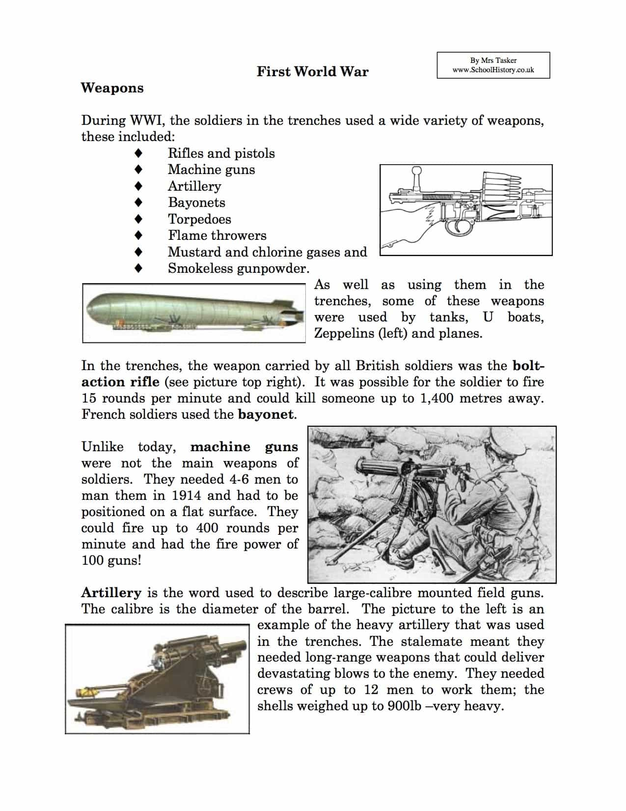 Weapons Used In World War I Facts Amp Information Worksheet