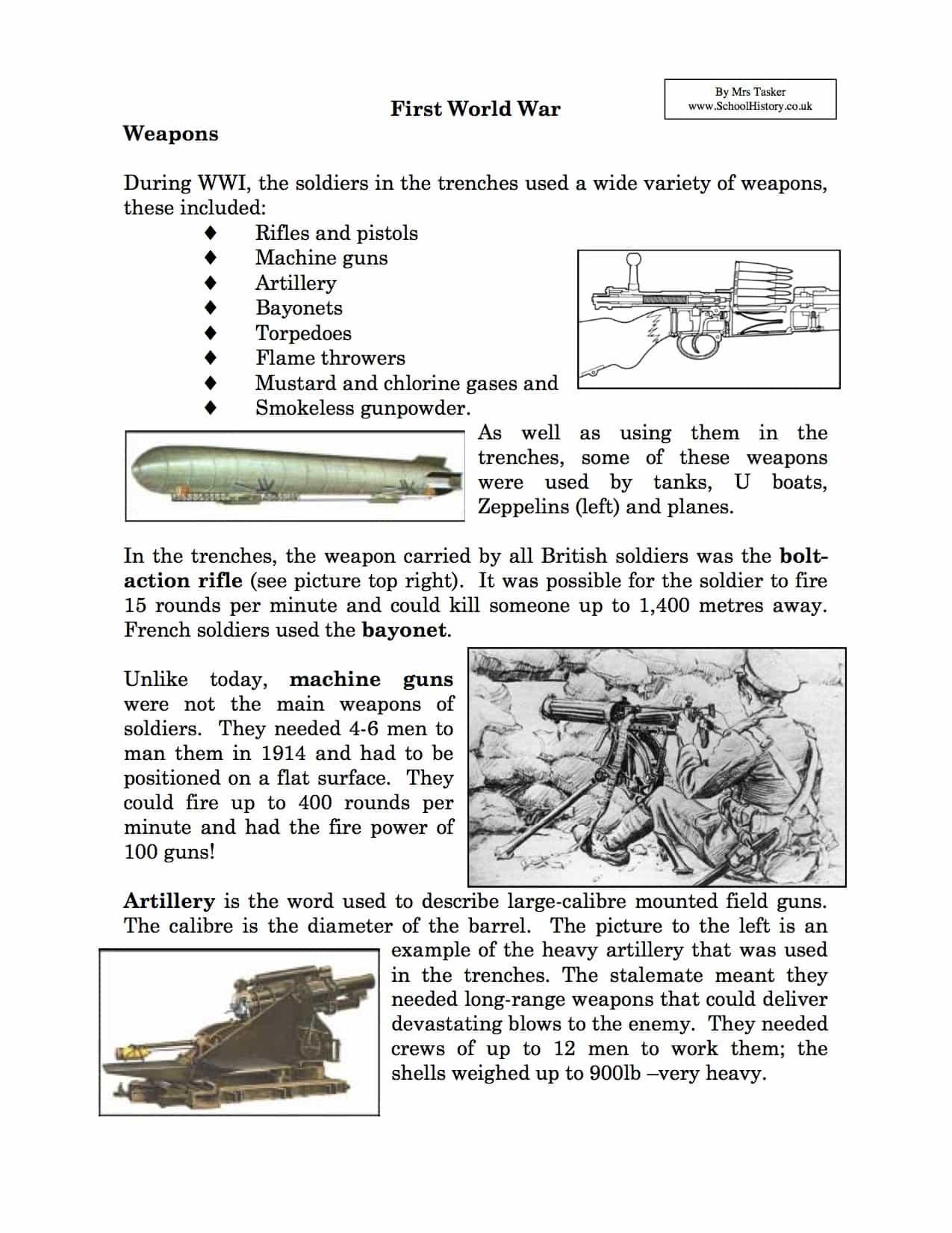 Best Free Printable World War 1 Worksheets