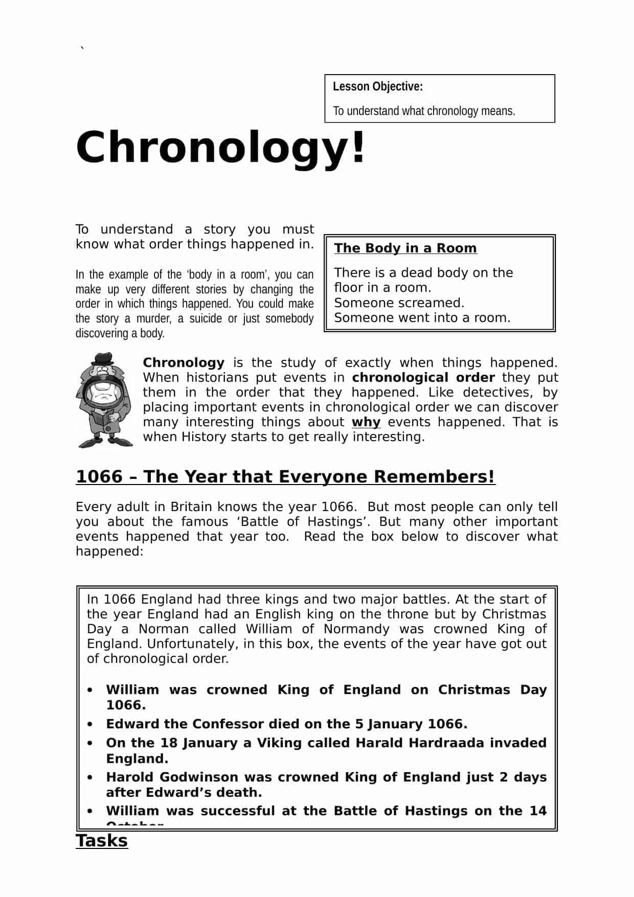 Chronology Worksheet