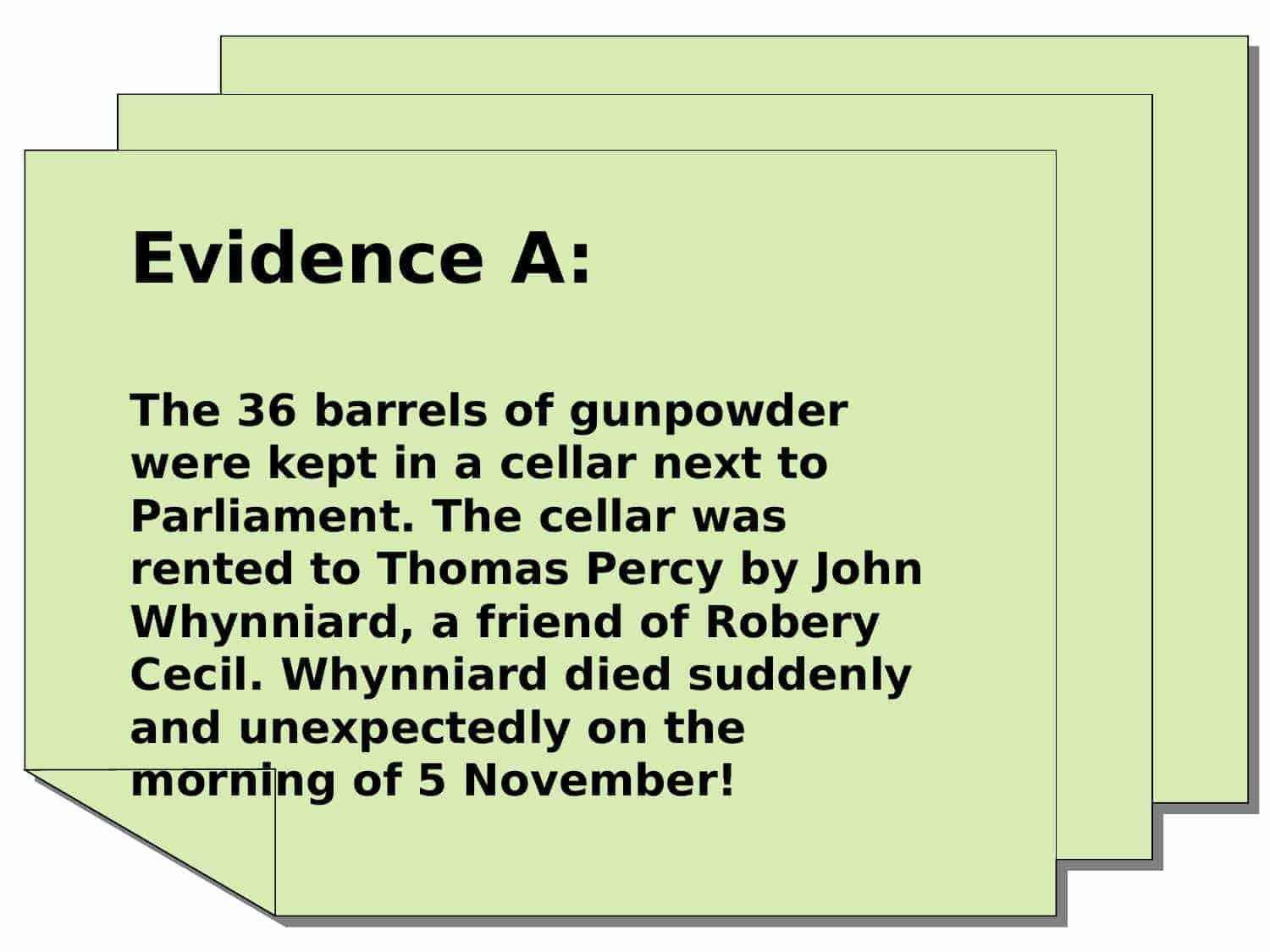 Gunpowder Evidence Sheets