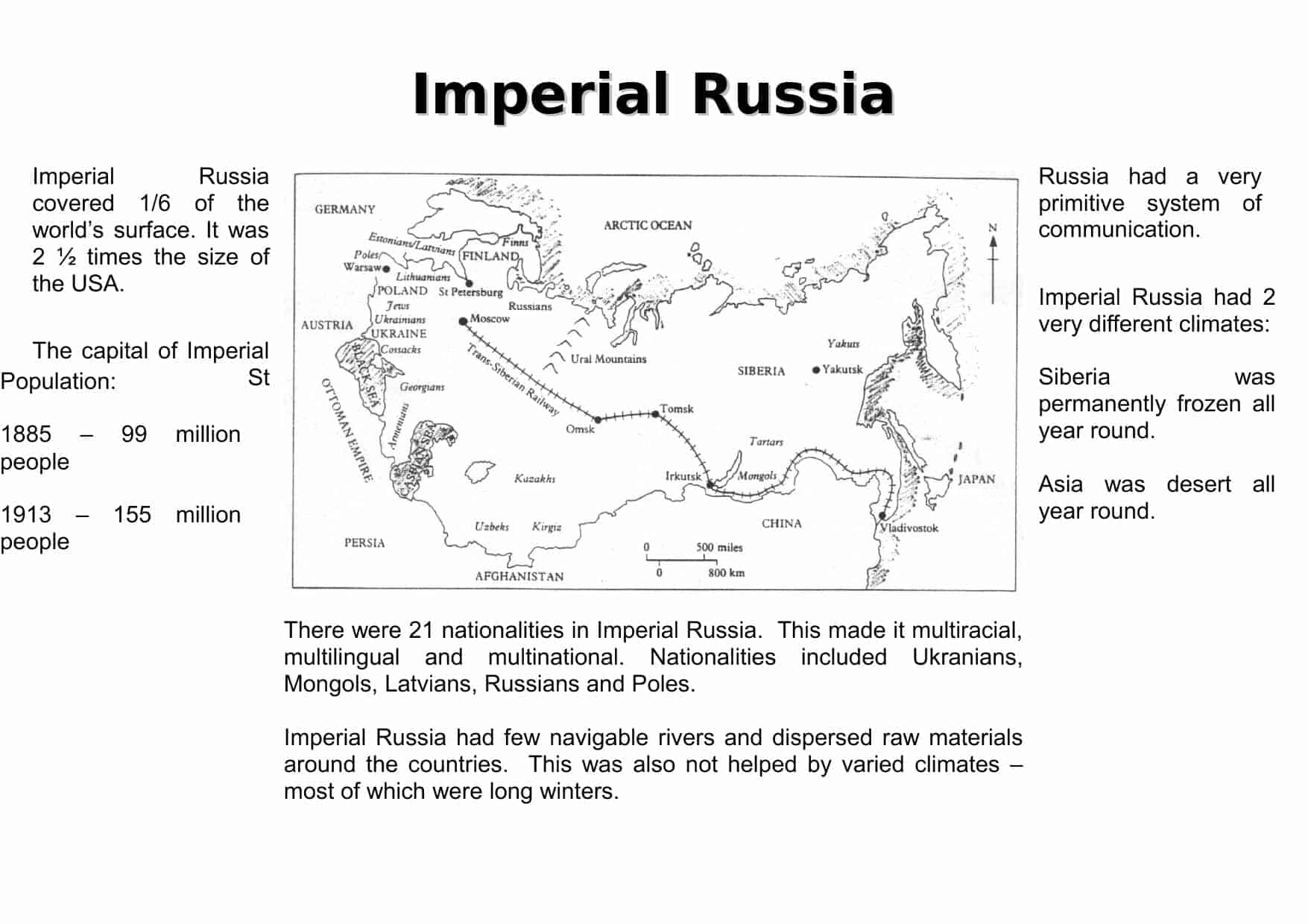 Imperial Russia Facts Worksheet