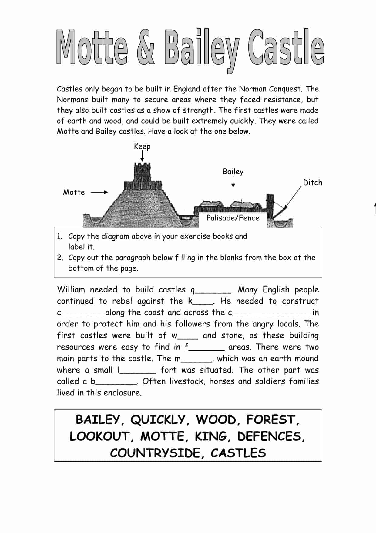 Motte And Bailey Castle Activity
