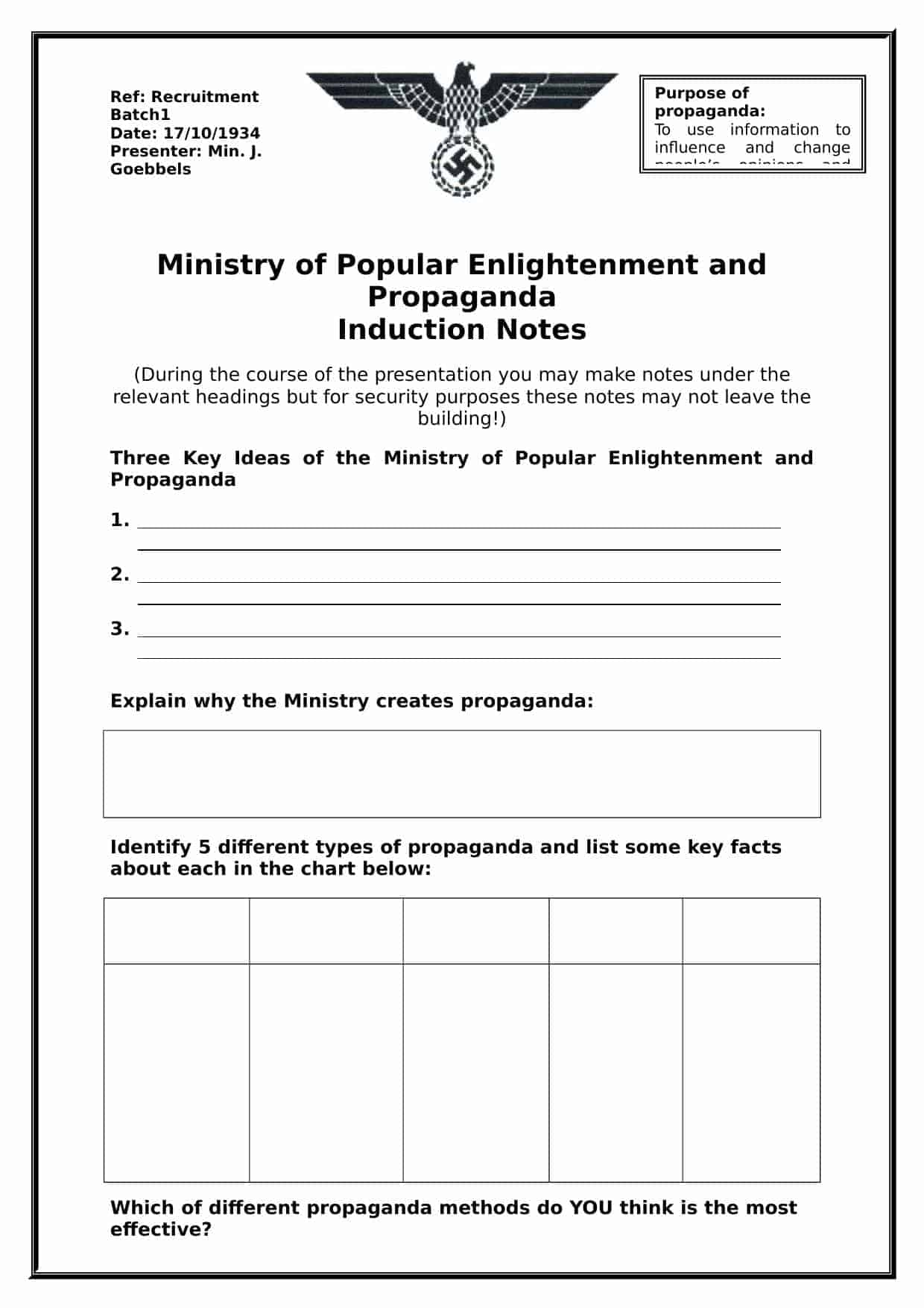 Nazi Propaganda Lesson Worksheet