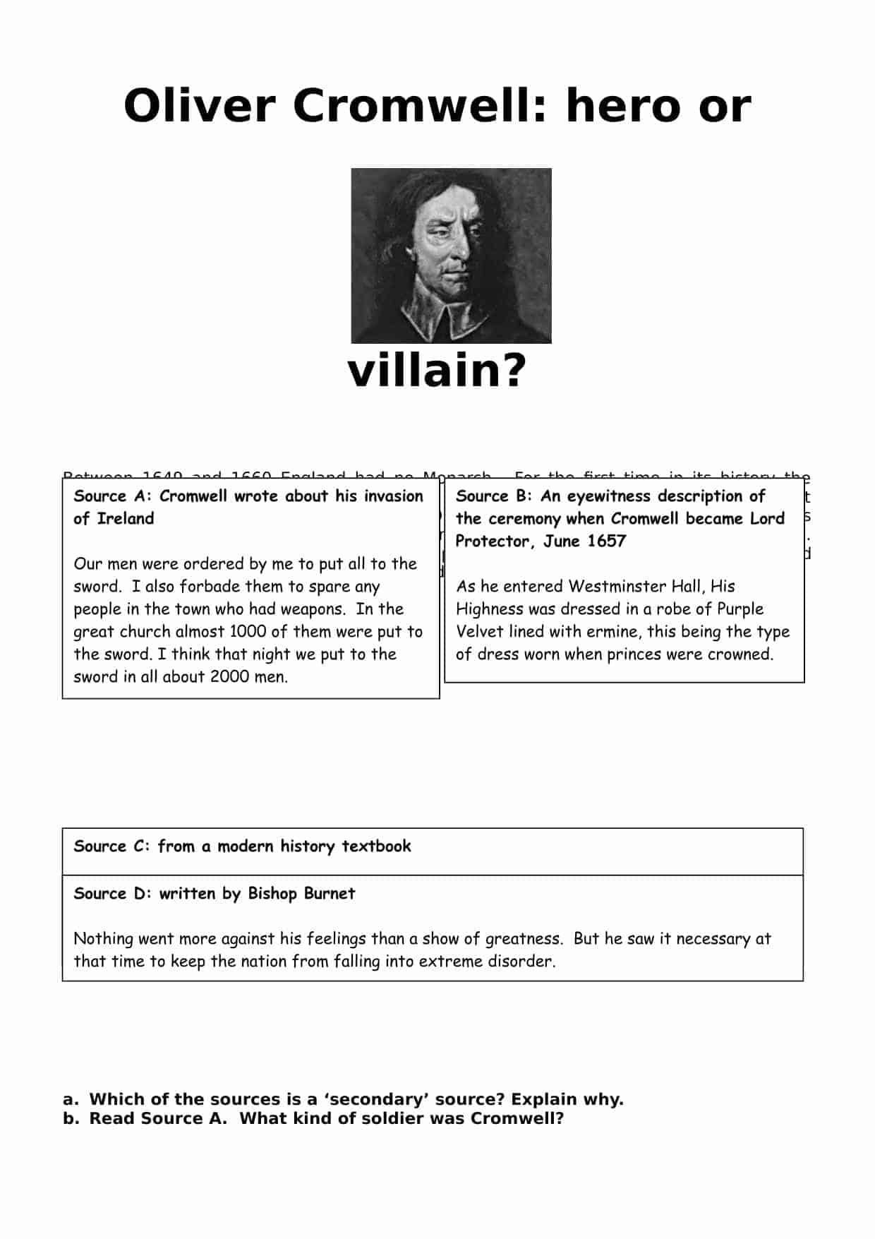 Oliver Cromwell Hero Or Villain
