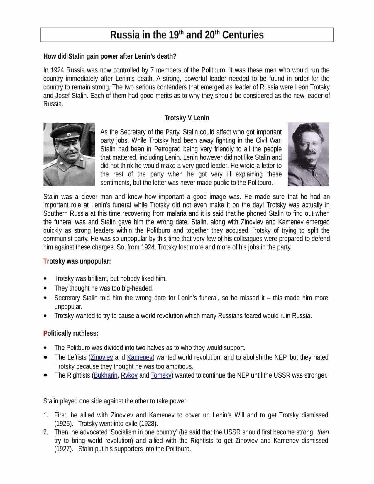 Stalin V Trotsky Facts Amp Information Worksheet