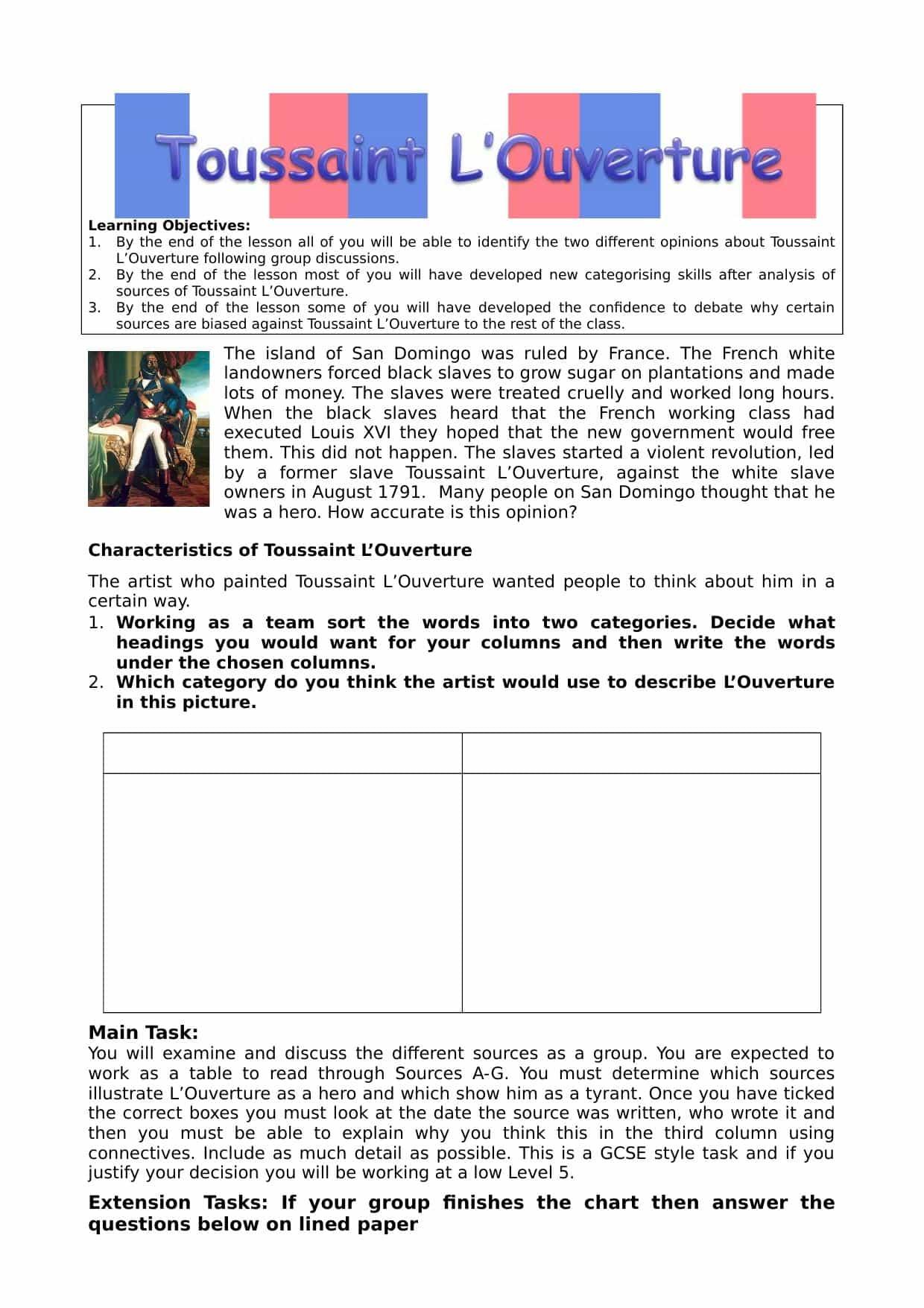 Toussaint L Ouverture Worksheet Harder