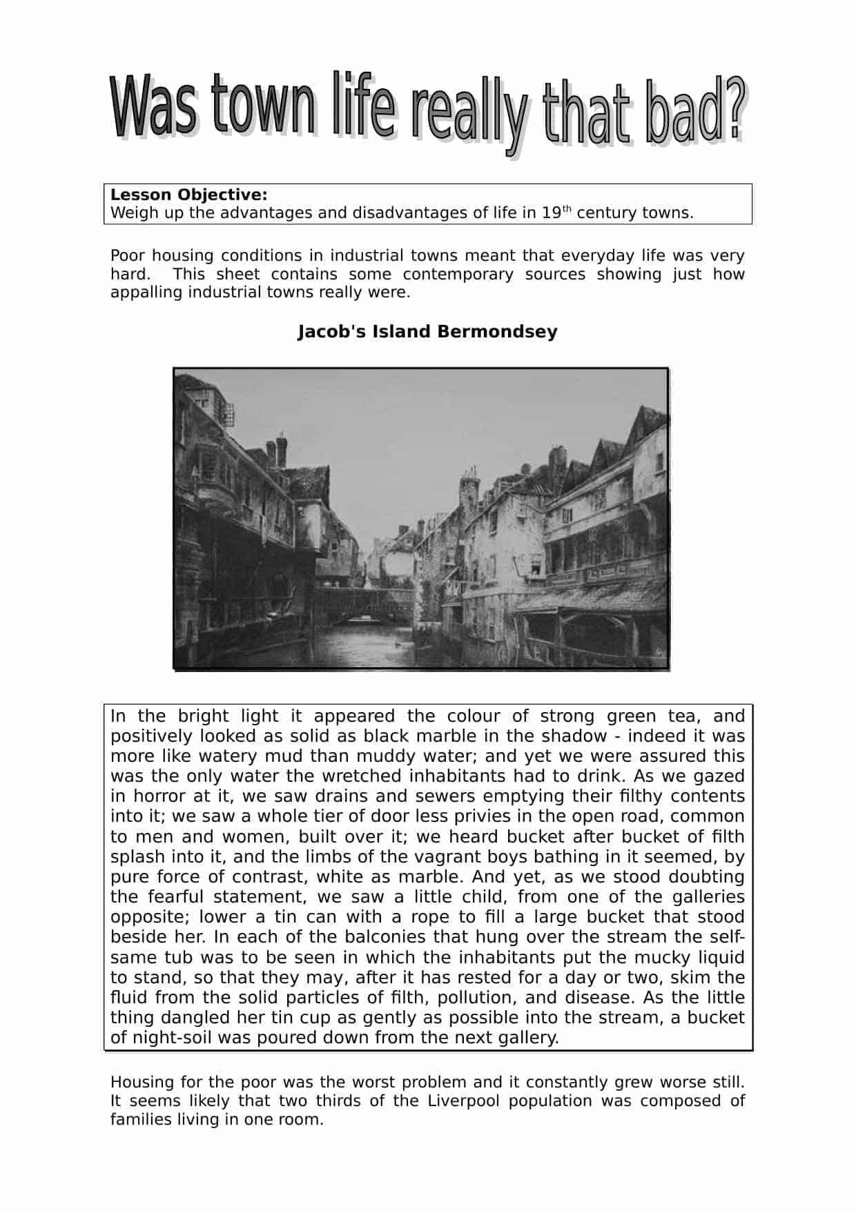 Advantages Amp Disadvantages Of 19th Century Towns