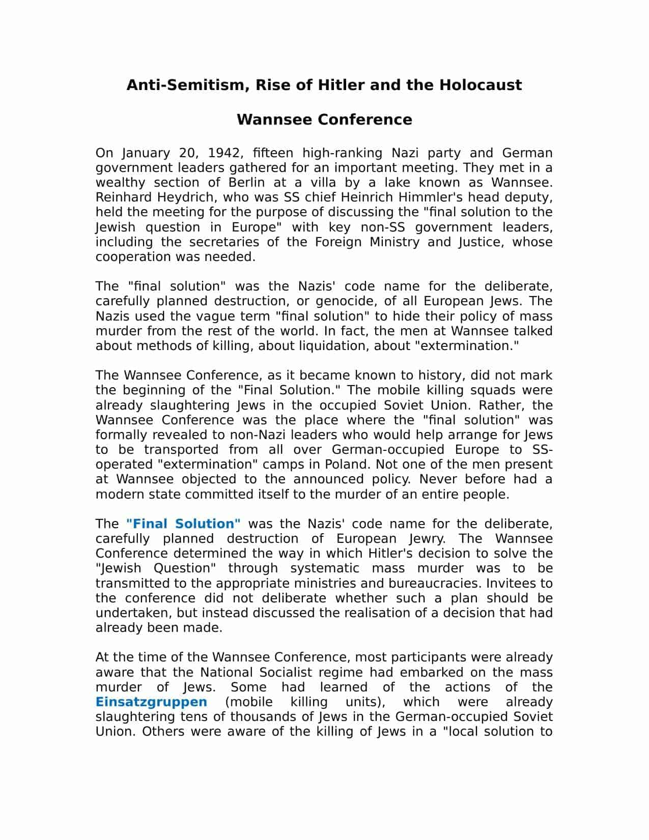 Wannsee Conference Facts Information Amp Consequences Worksheet