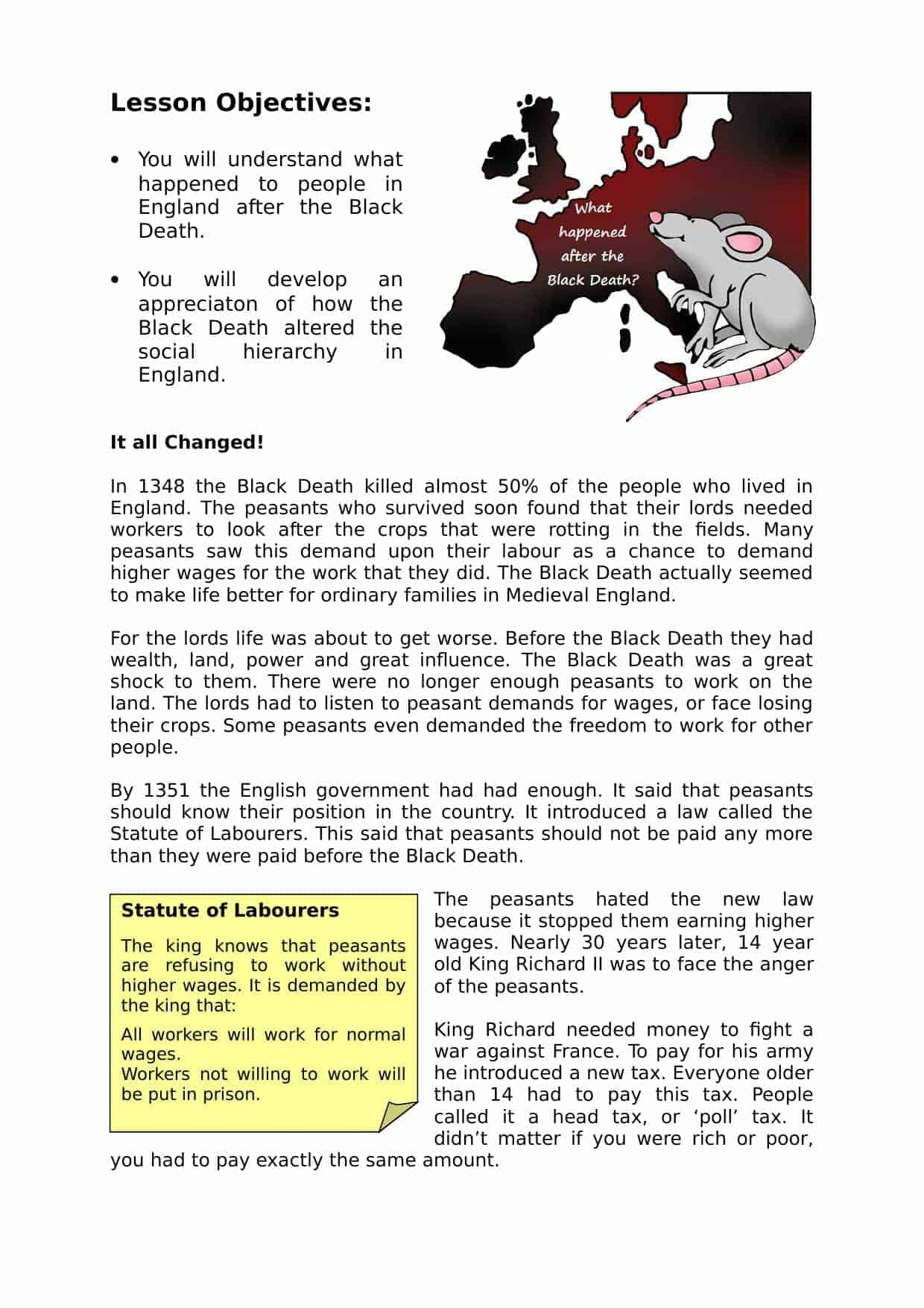 What Happened after the Black Death | KS3 Lesson Plan Resource