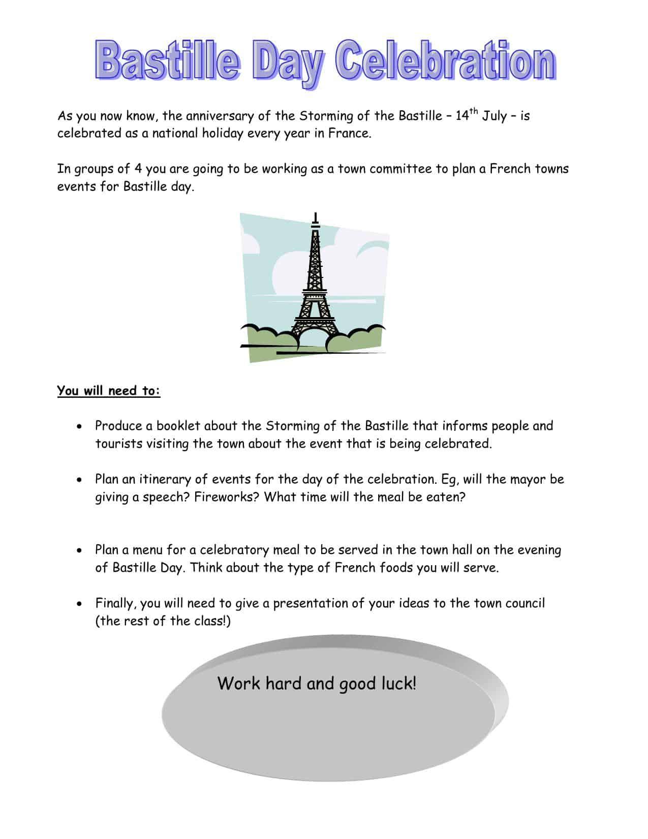 Bastille Day Celebration Worksheet