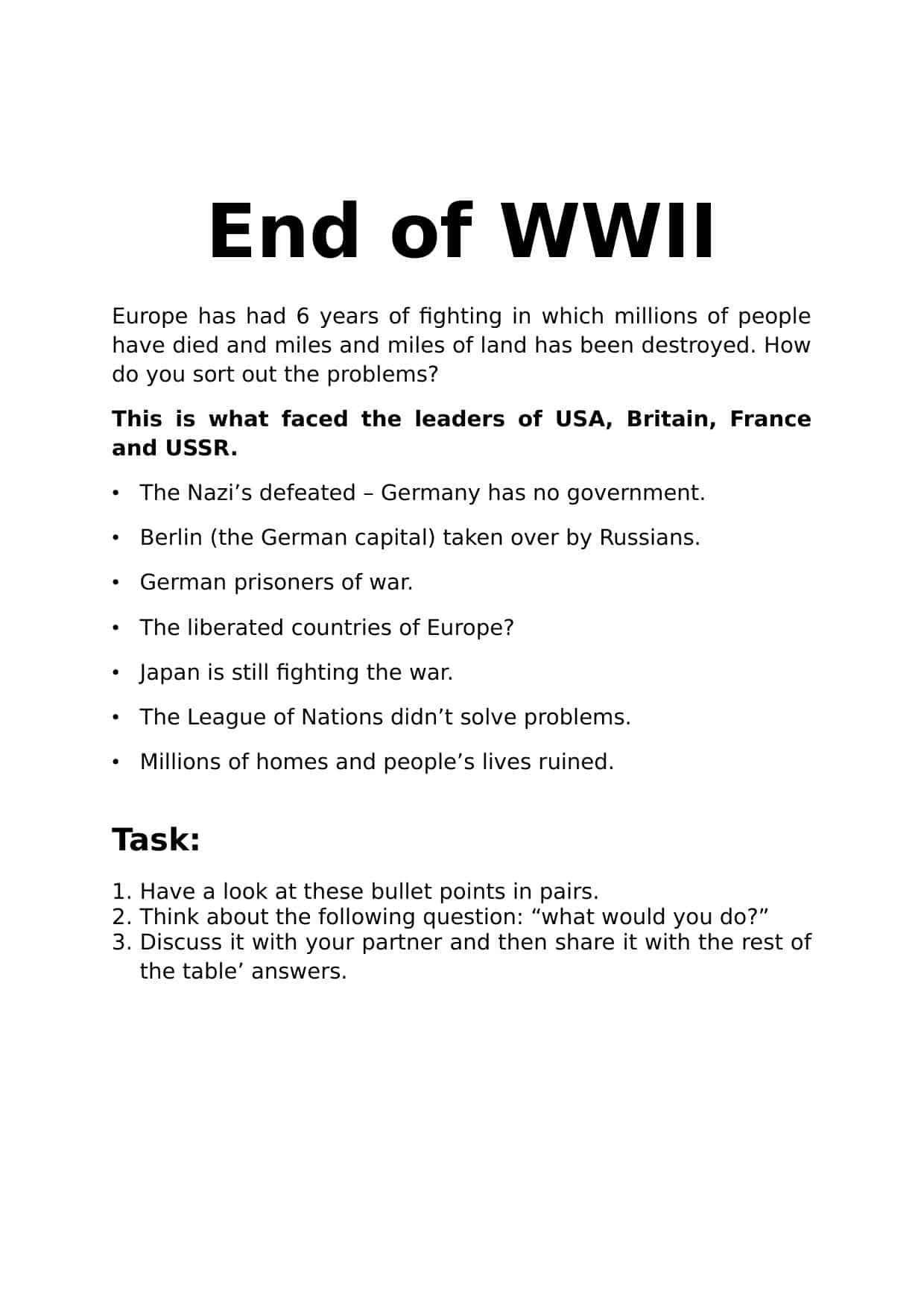 End Of Wwii Activity Worksheet