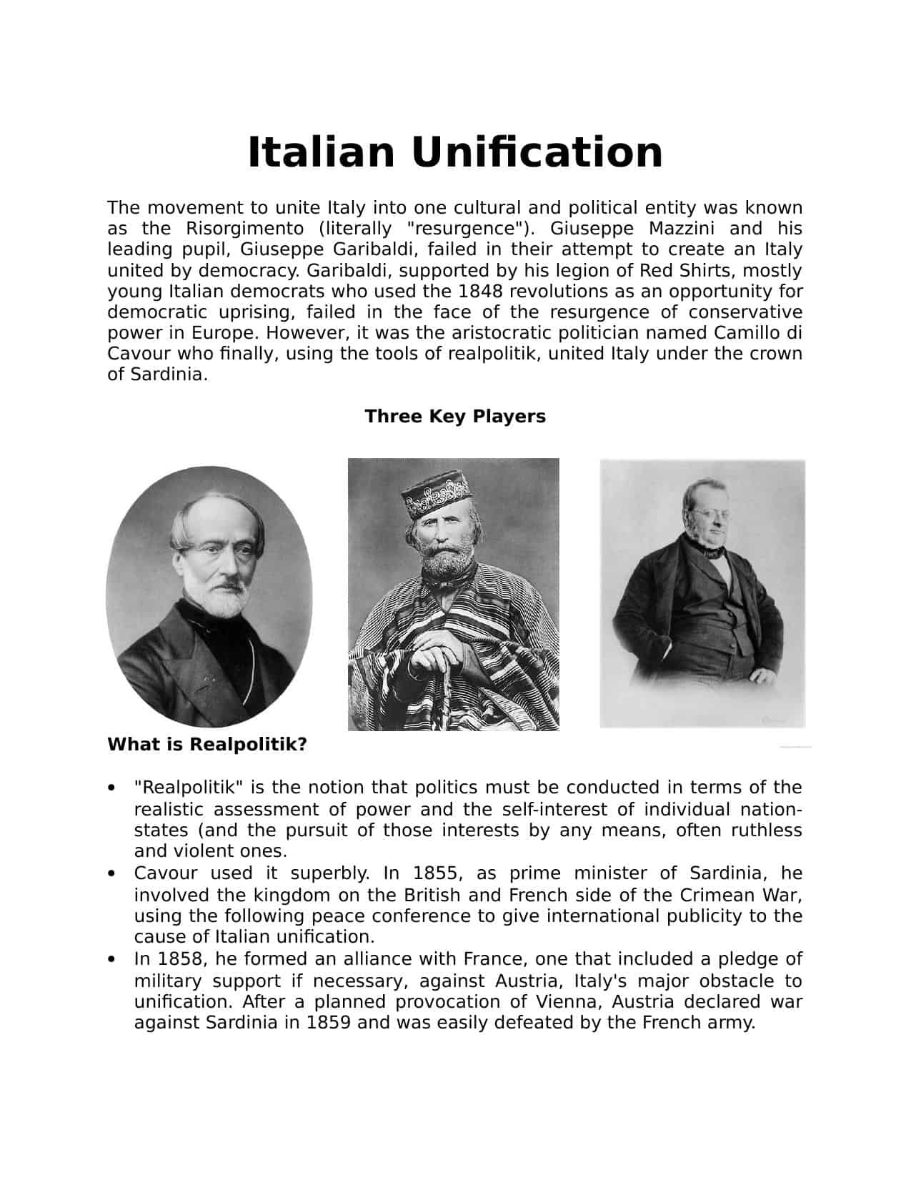 Italian Unification Worksheet