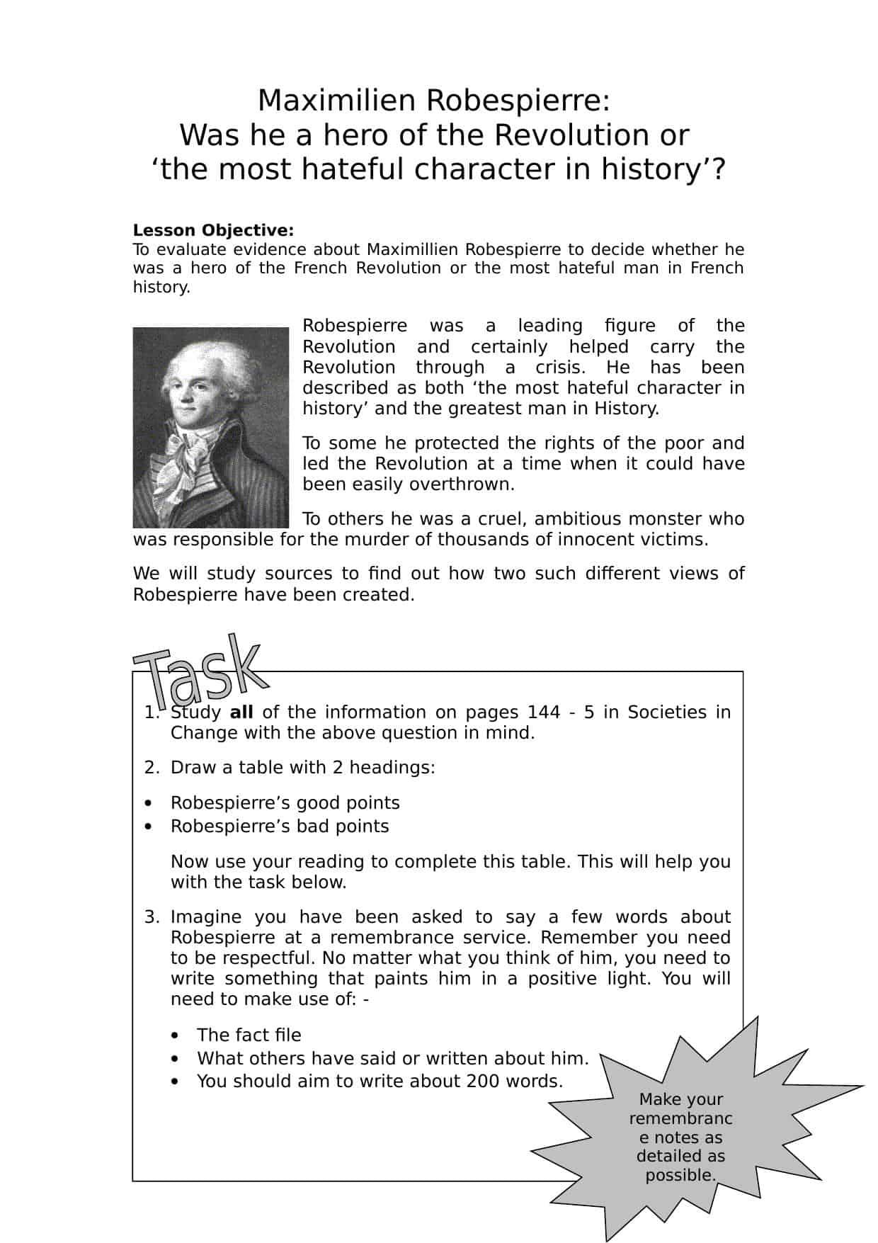 Maximillien Robespierre Worksheet