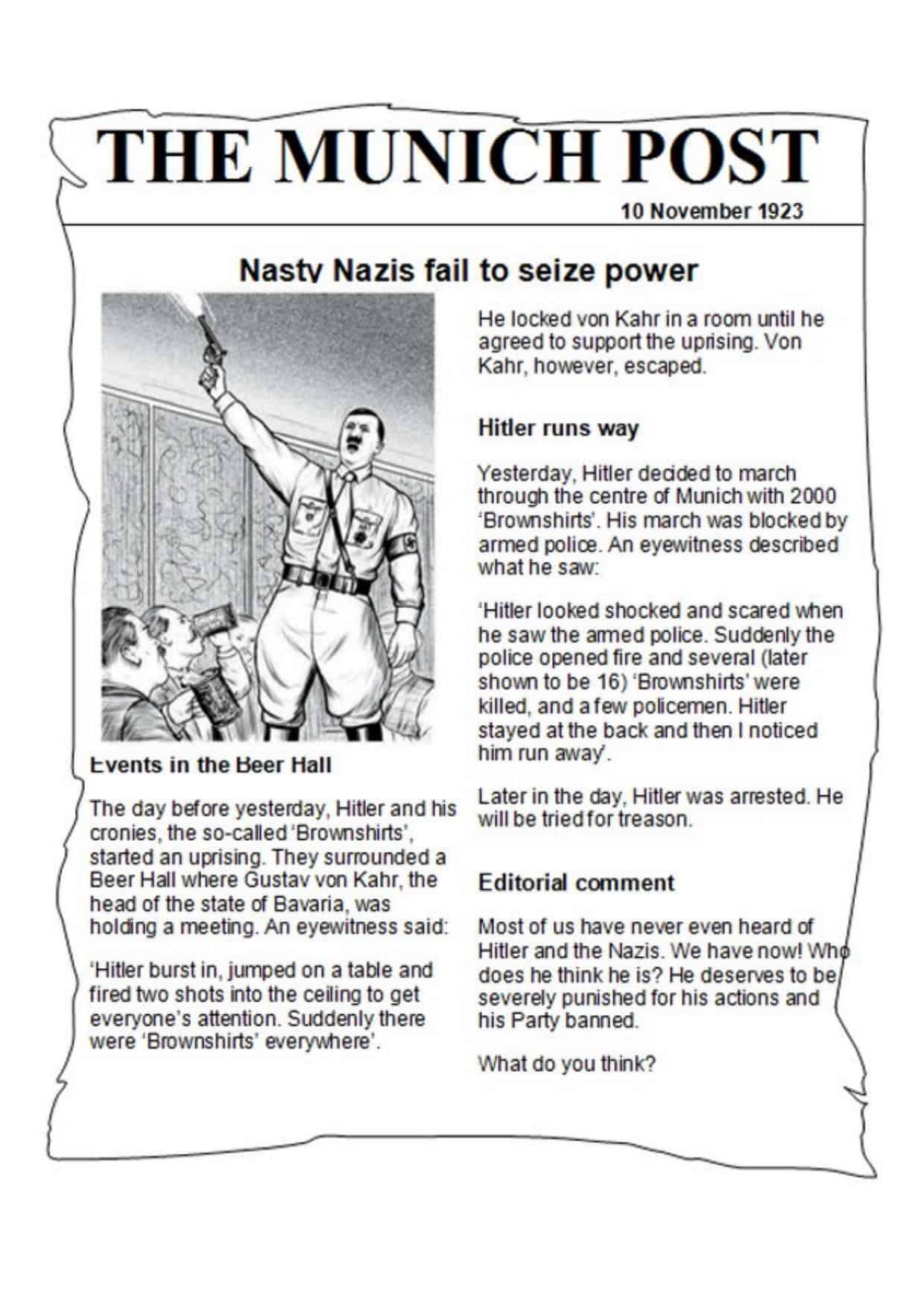 Munich Putsch Newspaper Article Worksheet