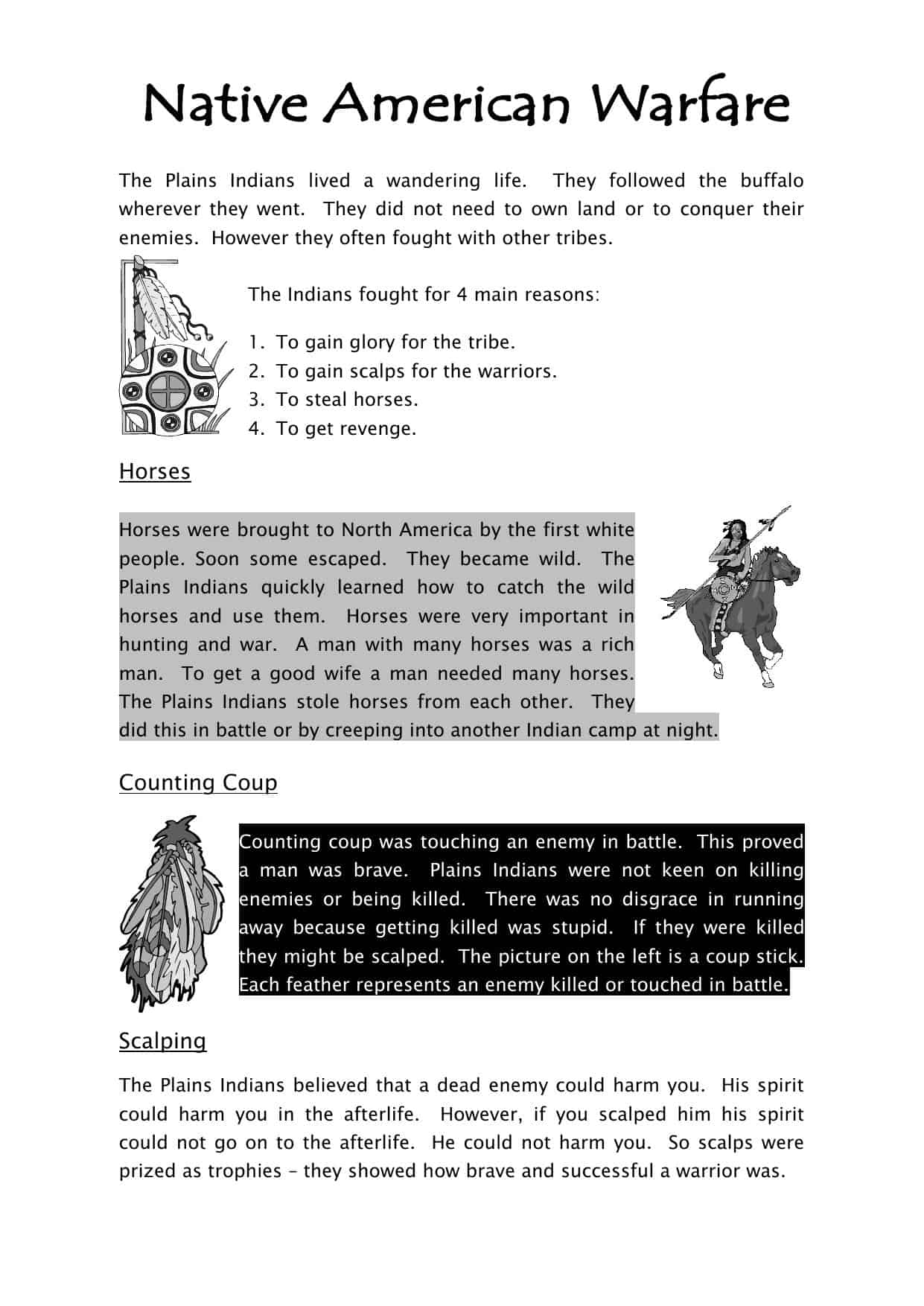 Native American Warfare Worksheet