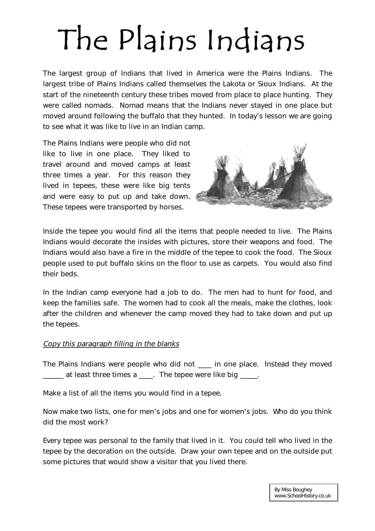 Plains Indians Worksheet
