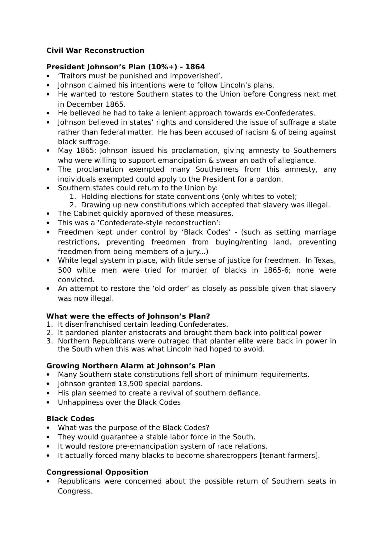 Civil War Reconstruction A Level Revision Notes