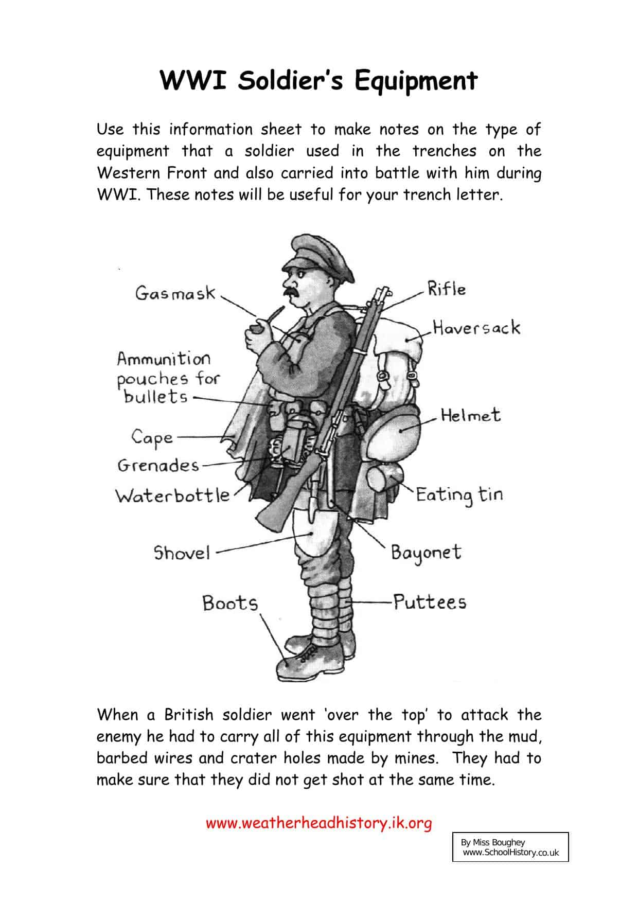 Wwi Sol R S Equipment Worksheet