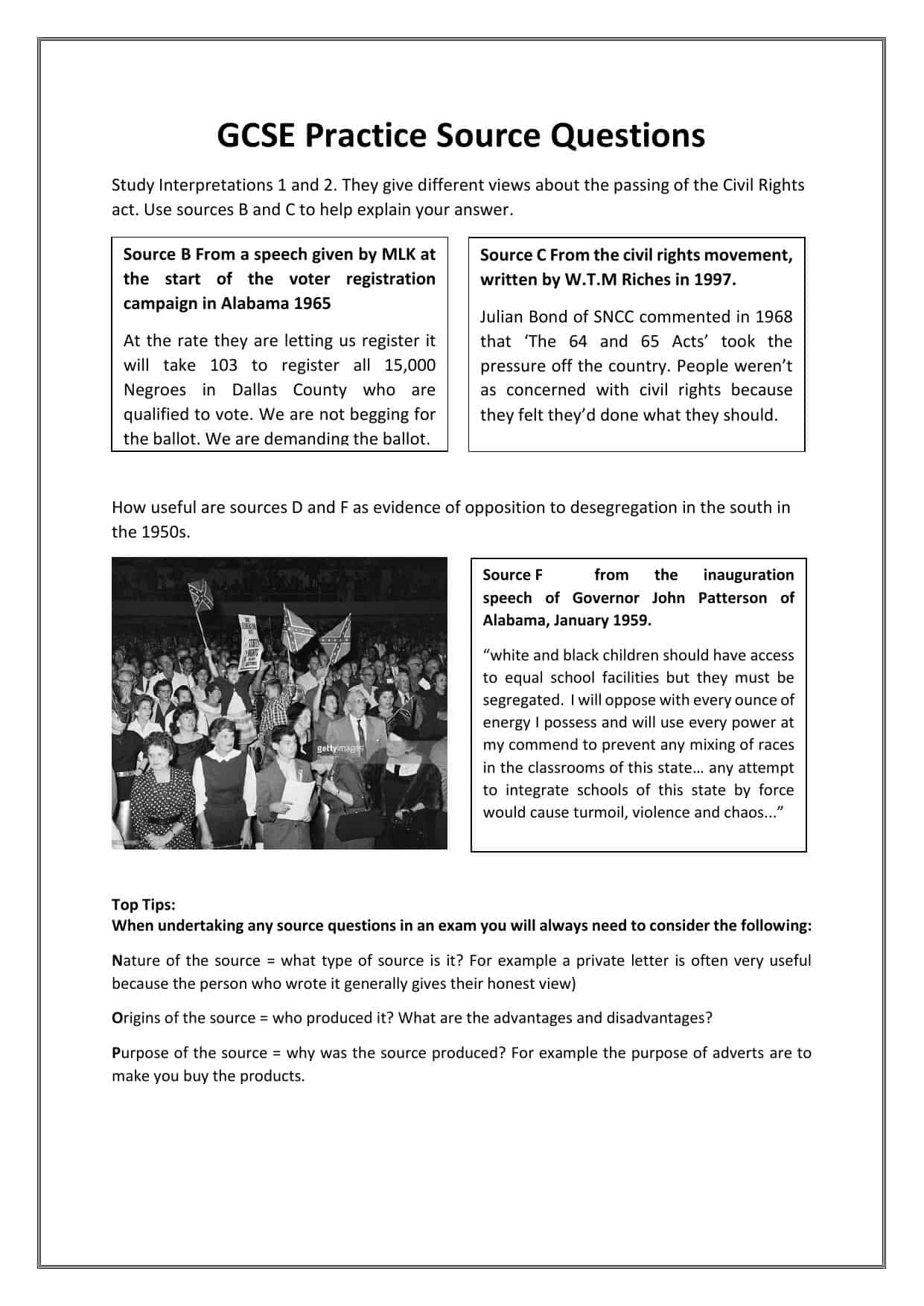 Civil Rights Gcse Practice Source Assessment