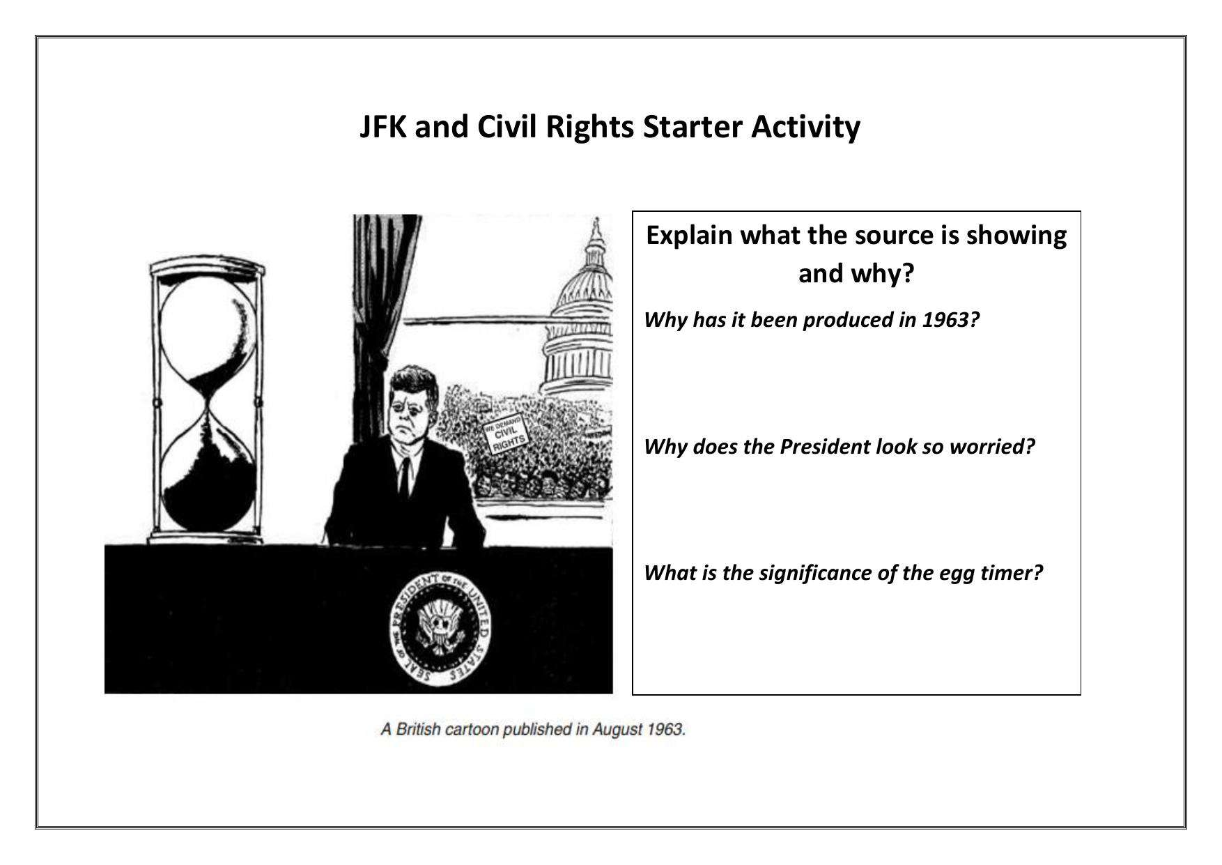 Jfk And Civil Rights Middle Ability Starter Activity Worksheet
