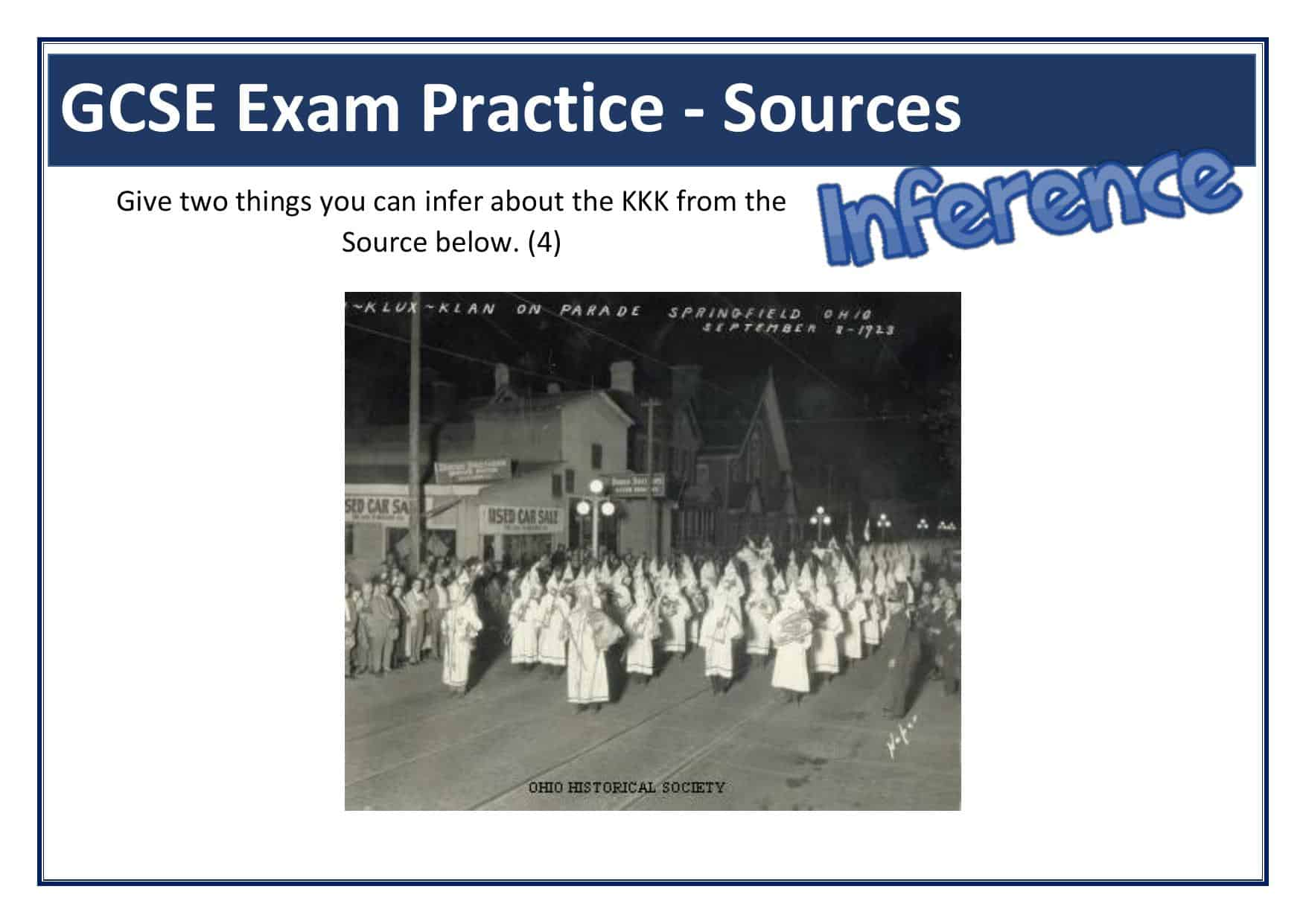 Kkk Inference Gcse Exam Practice Source Question