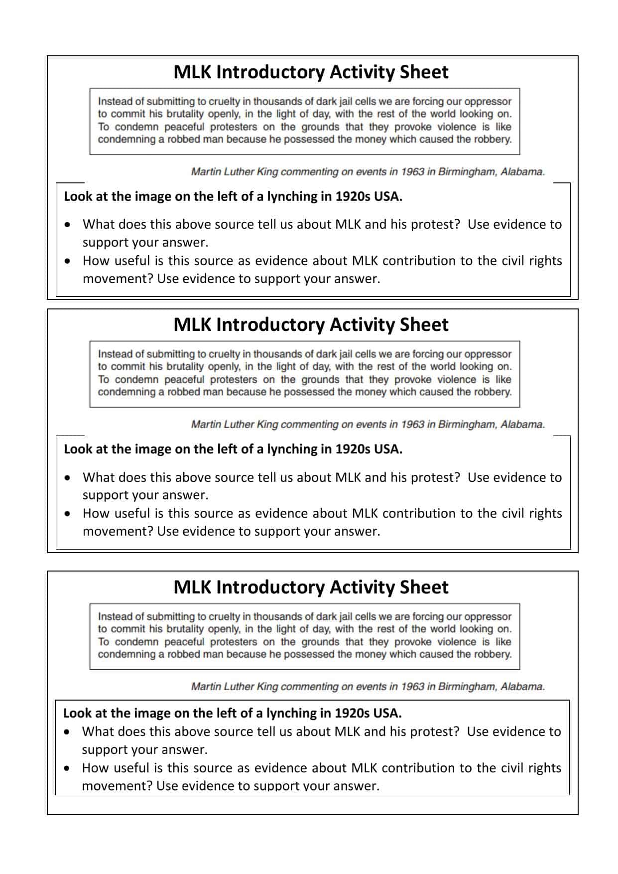 Martin Luther King Gcse Introductory Activity Worksheet