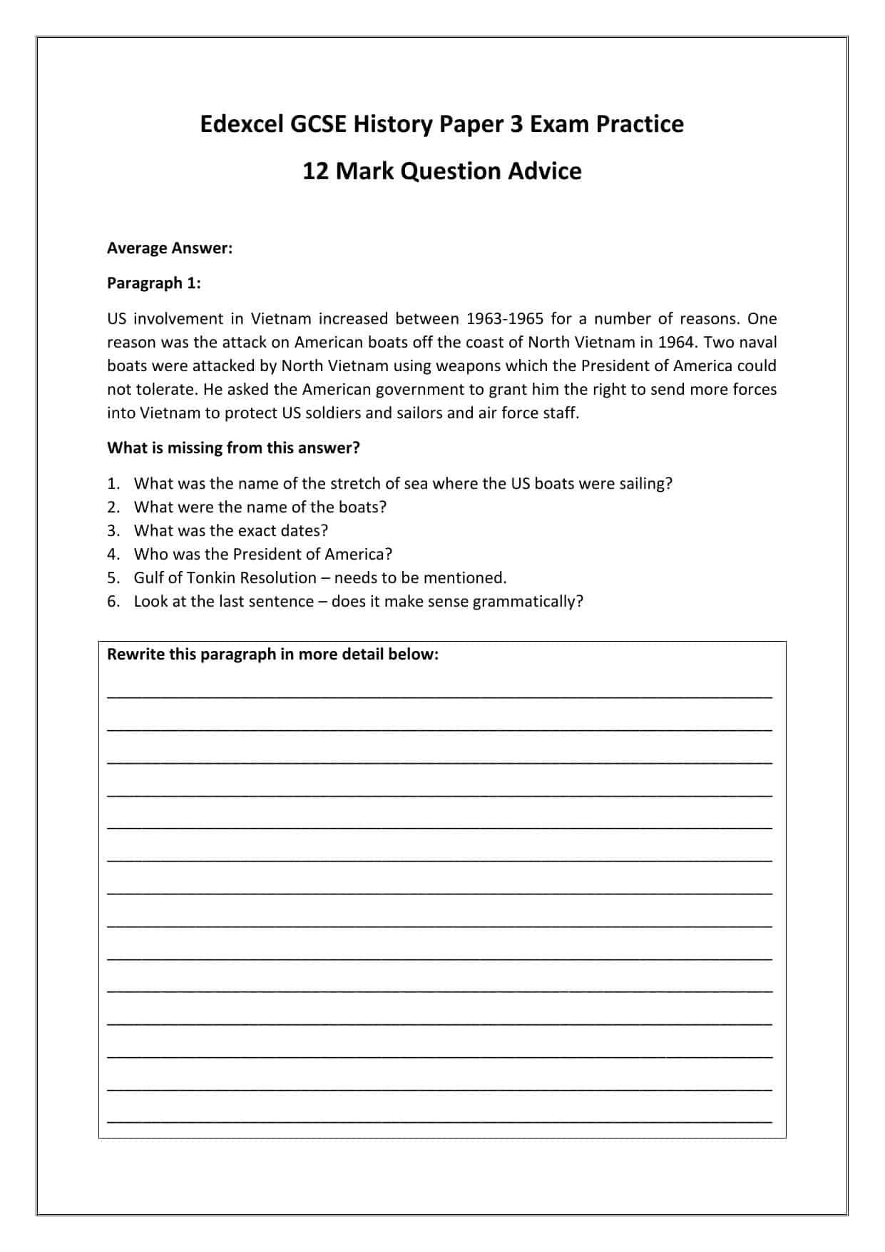 Edexcel Gcse History Paper 3 Exam Practice