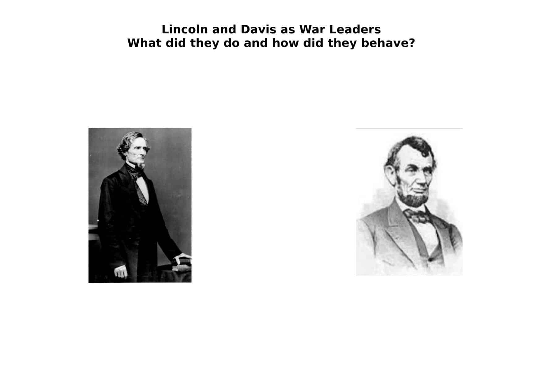 Davies And Lincoln Comparison A Level Worksheet