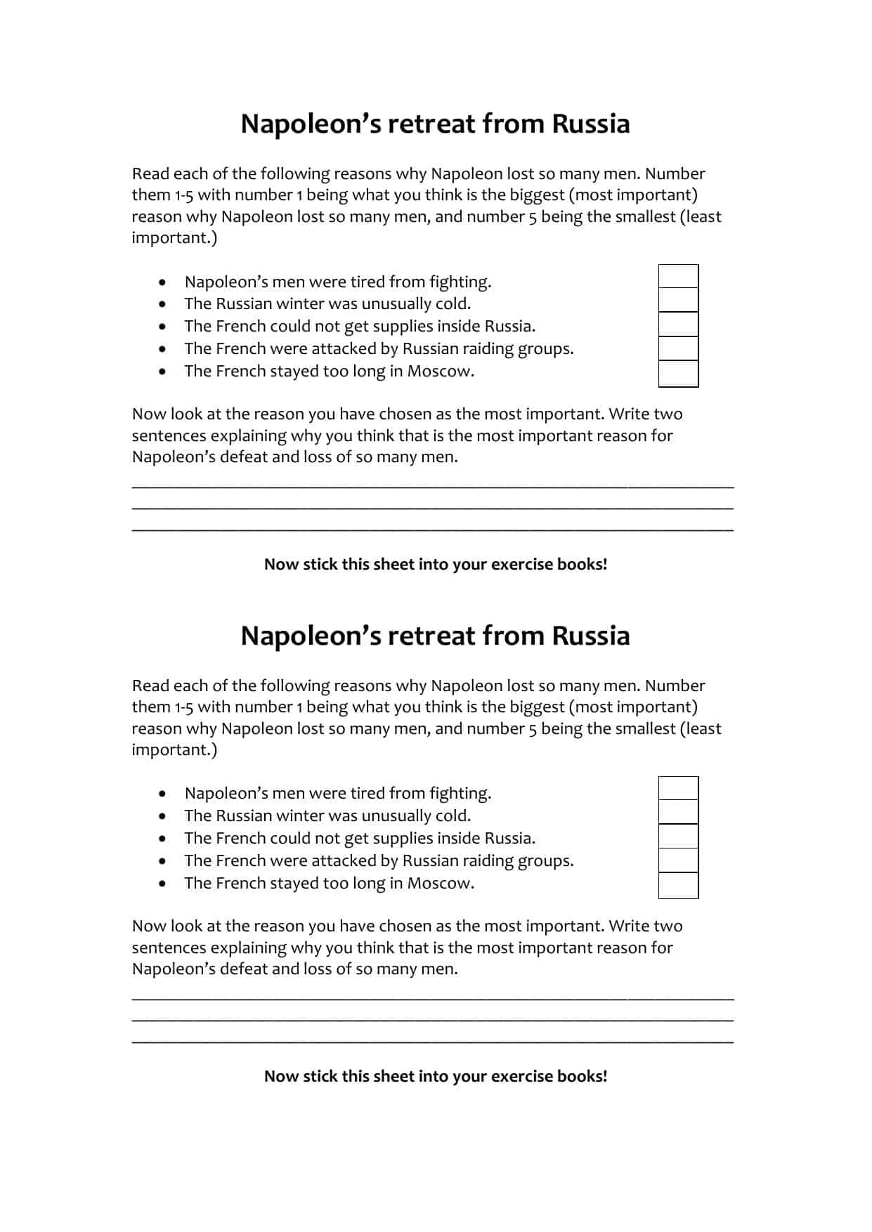 Napoleons Retreat From Russia Task Worksheet
