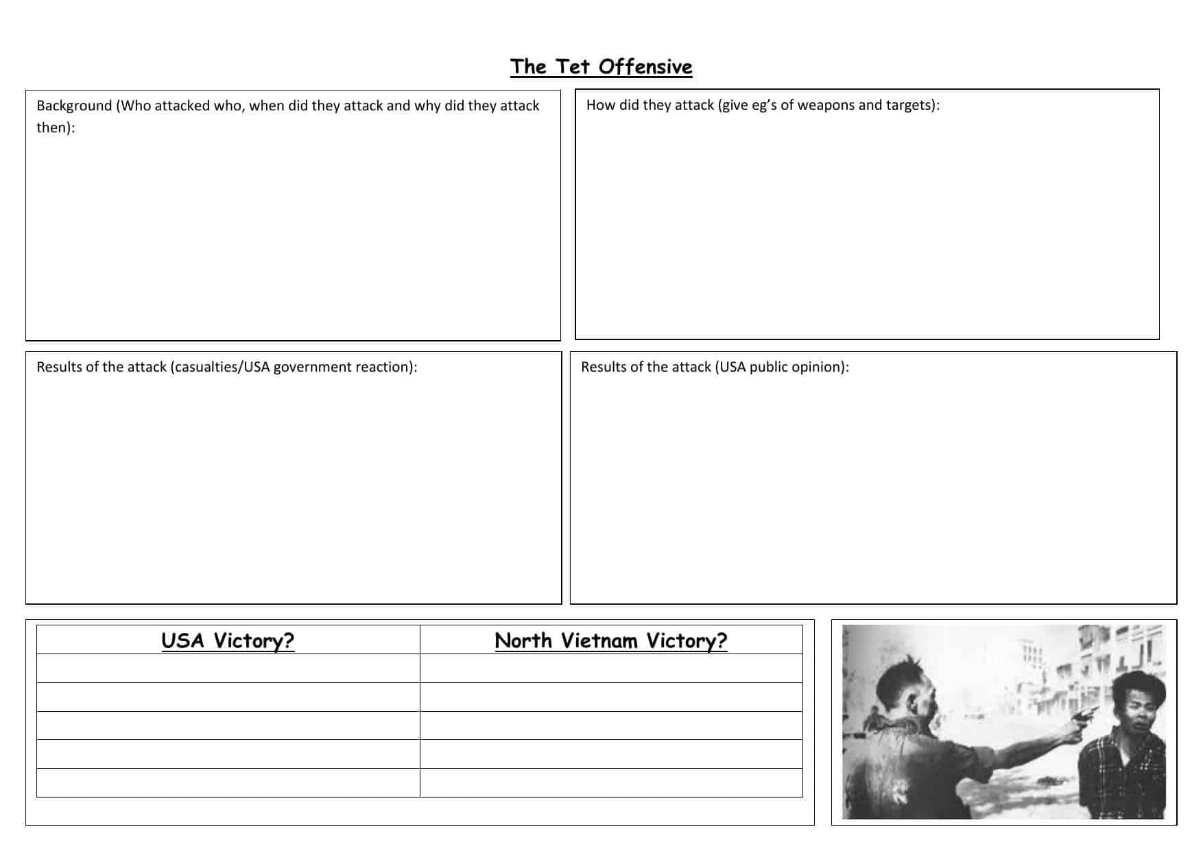 Vietnam War Worksheets