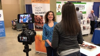 Leslie Nunnery of Teach Them Diligently interviewing for Schoolhouse Rocked - Homeschool Documentary