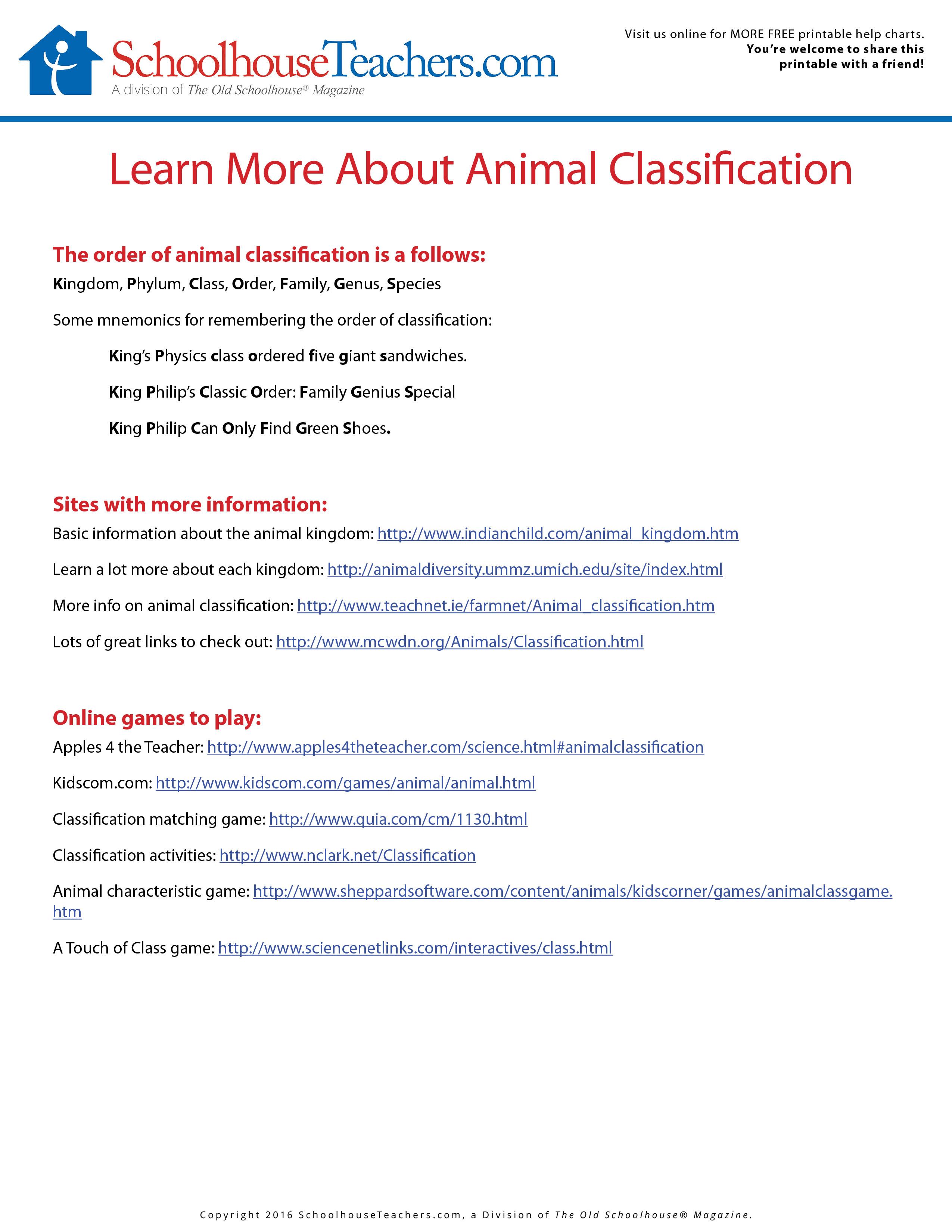 Printable Nature Journal And Animal Classification List
