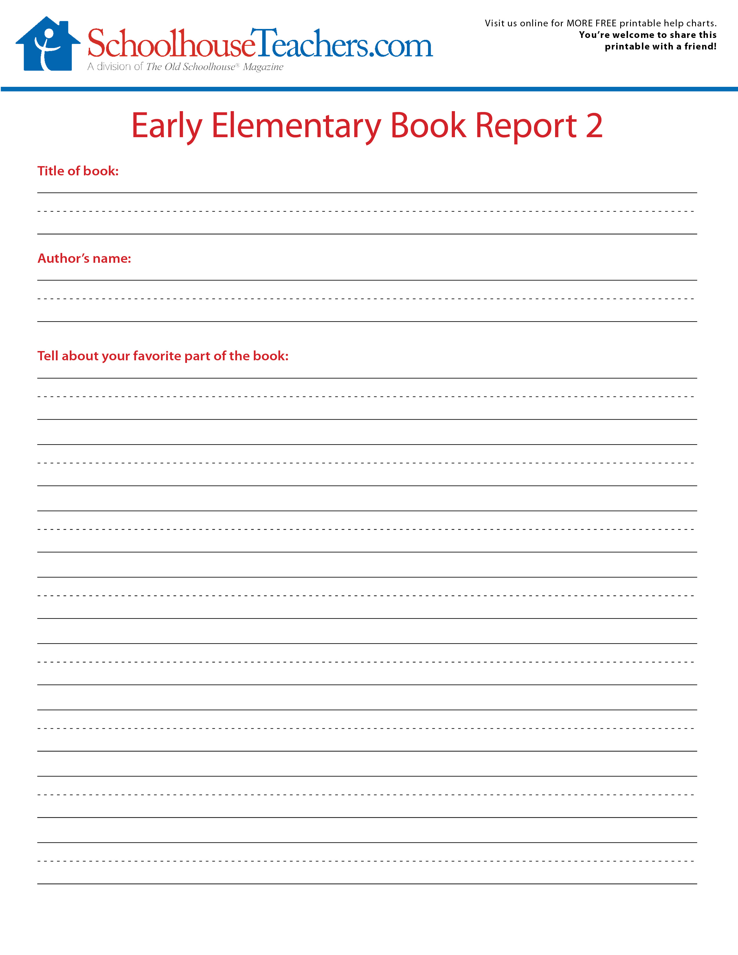 2 Free Elementary School Book Report Print Out Forms