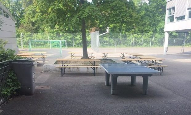 table tennis on the grounds of Ecole Moser