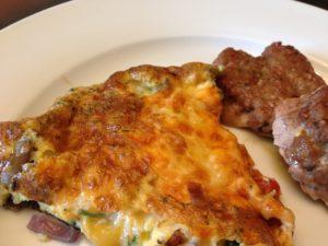 Veggie & cheese frittata with homemade breakfast sausage