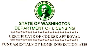 Washington State Certified State Home Inspection School