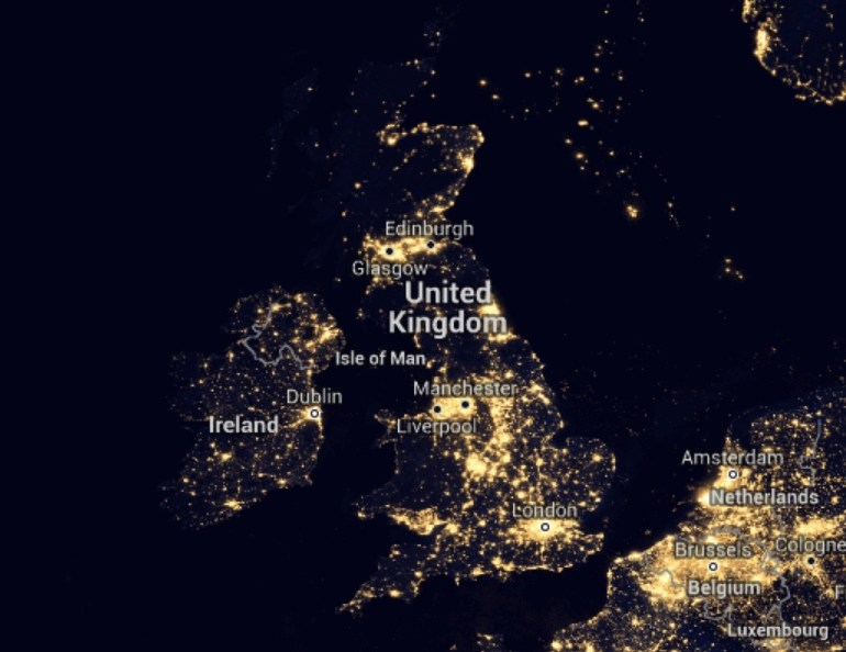 United Kingdom at night. The UK has several large cities, however London is by far the dominant and has been for centuries. This the status of federal and economic capital holds the UK back , it's the root cause of leavers' dissatisfaction