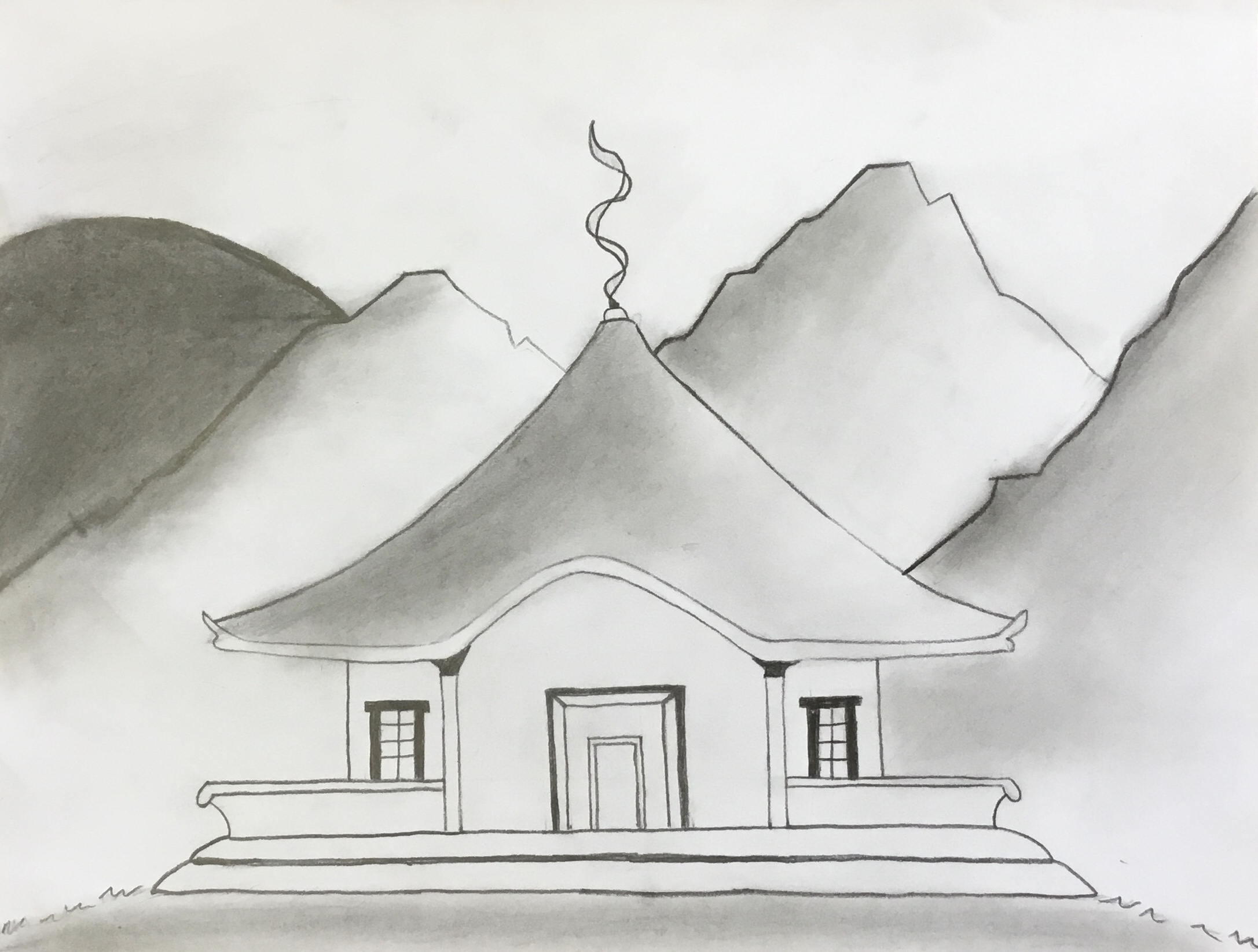 house done in pencil