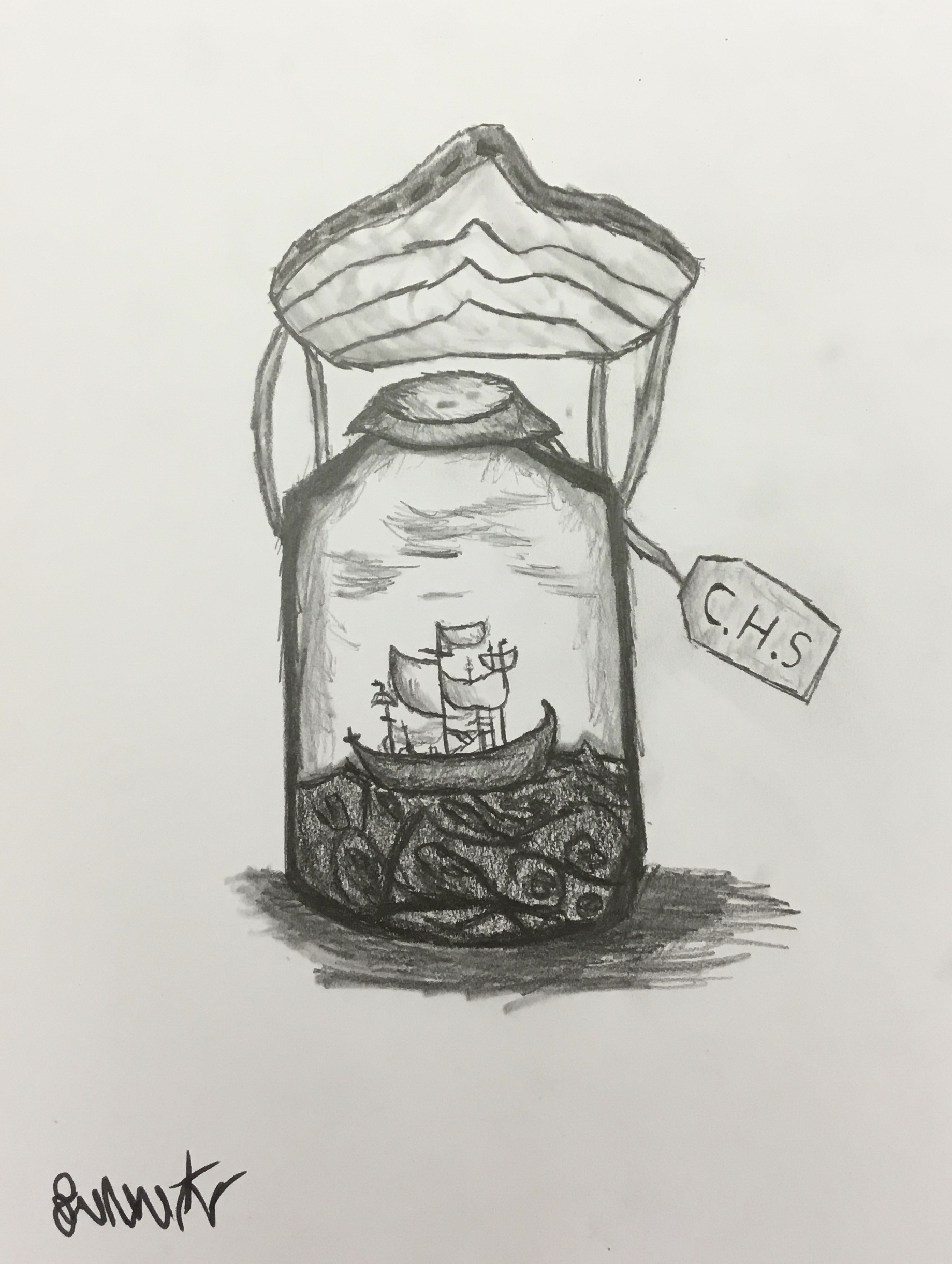 ship in a bottle in charcoal