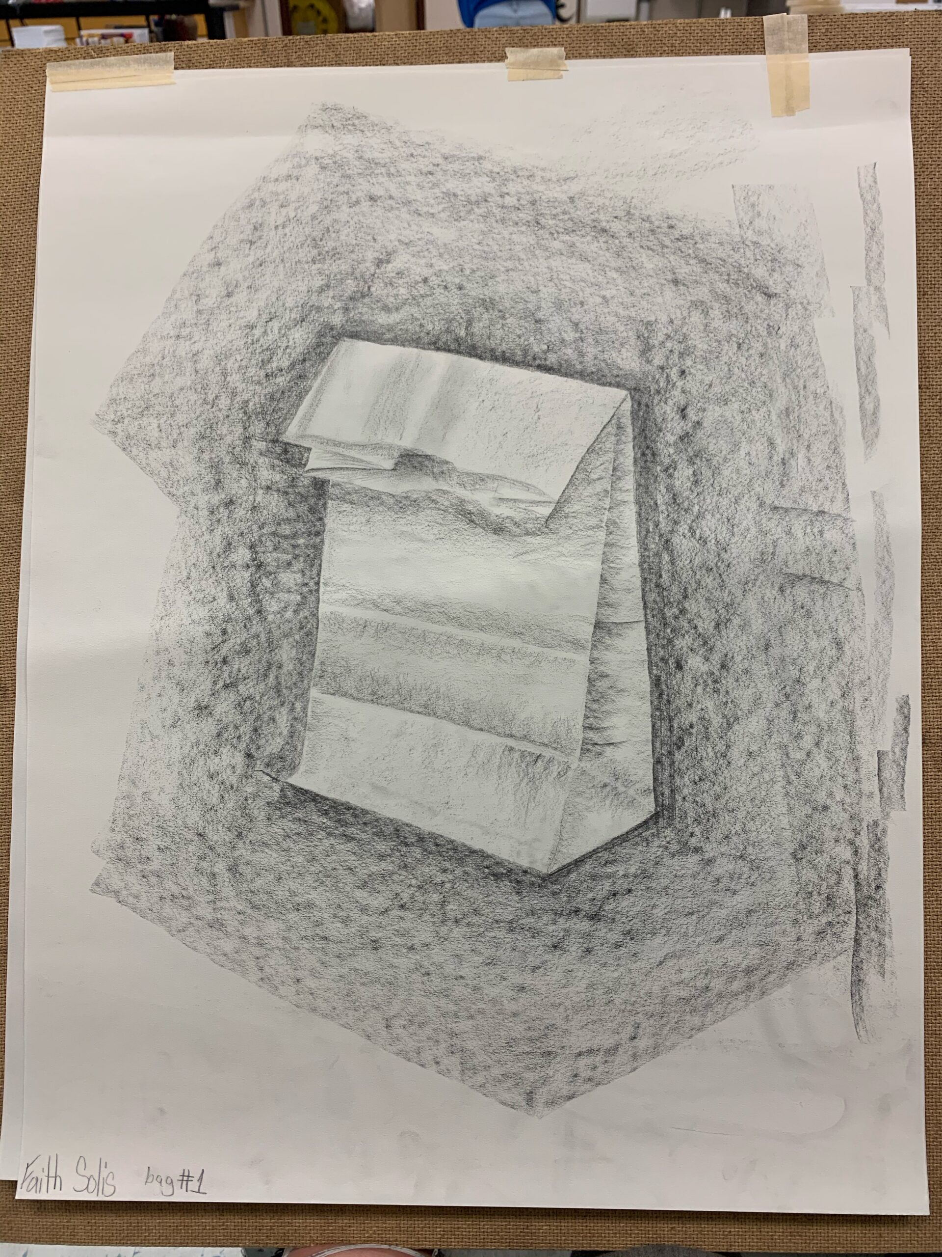 lunch sack done in charcoal