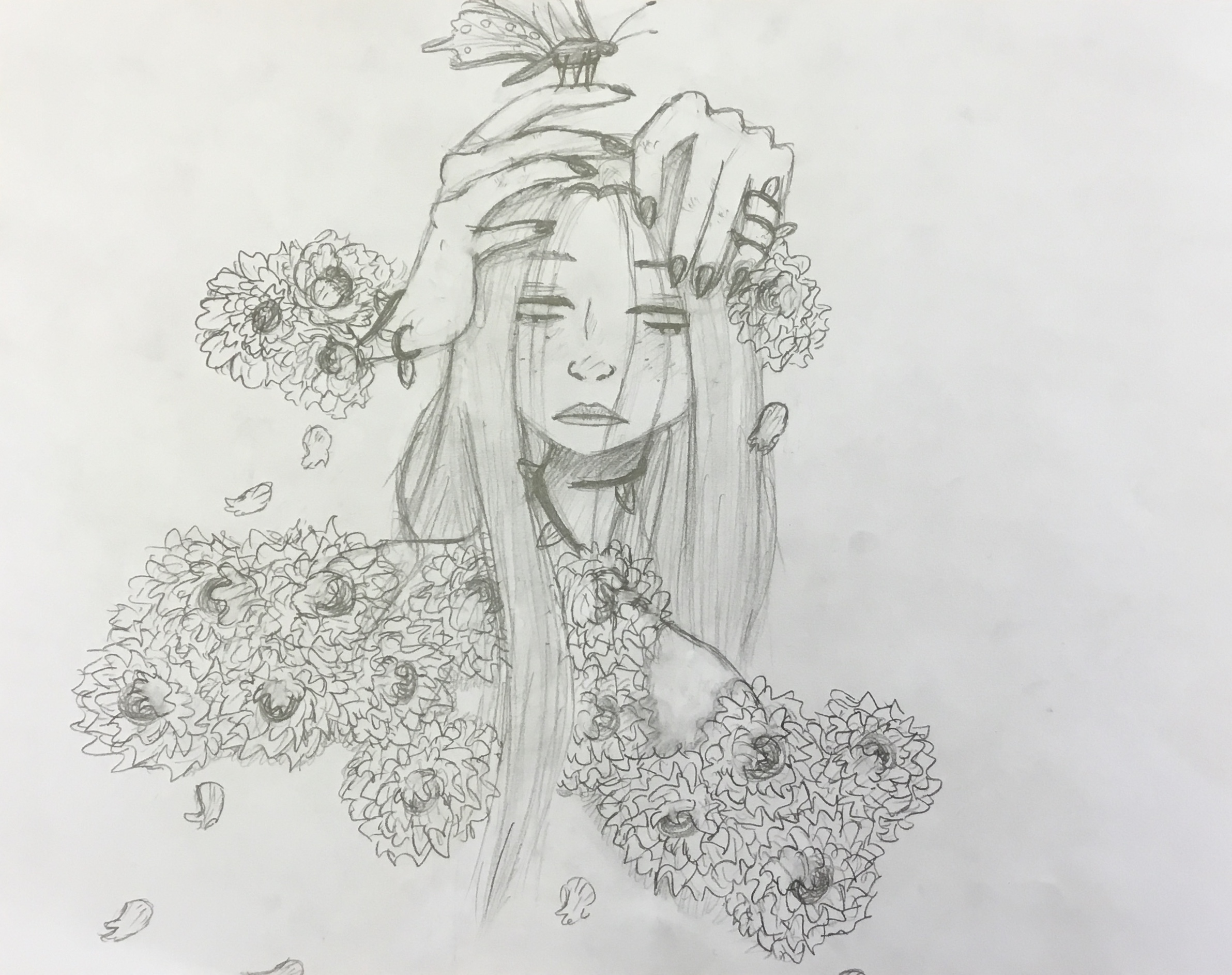 pencil drawing of girl with flowers