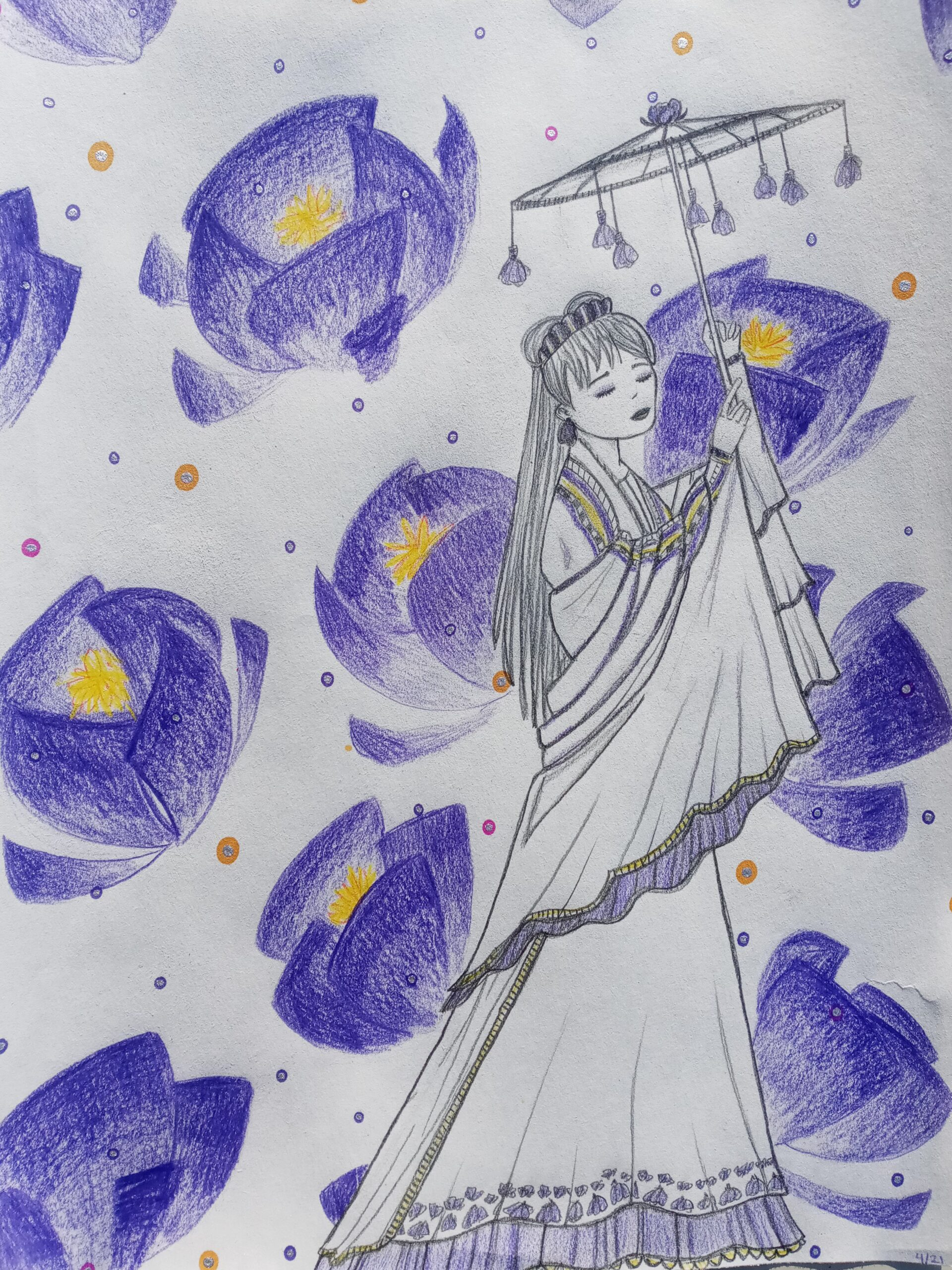 young woman surrounded by blue flowers drawing